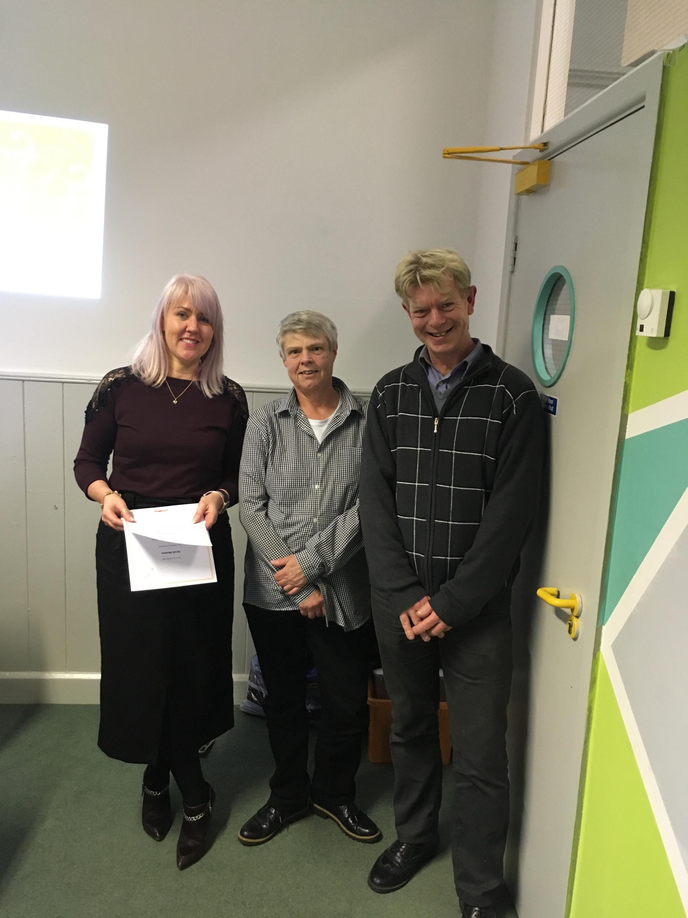 NEW START: Pictured (L to R) are Beyond 2030 founder and chief connecter, Toni Eastwood, with Sarah Neaves and Fred Hansford with their certificates for passing  Level 1 in customer service and personal development as part of help from Action Towards Incl