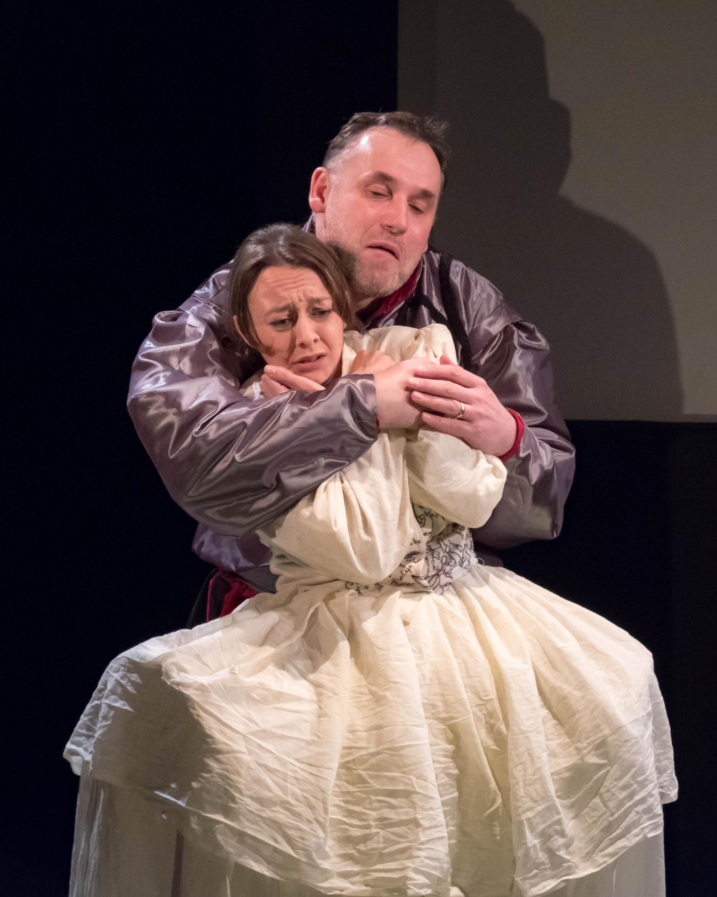 Mark France and Anna Rose James grappling with Shakespeare/Middleton's A Yorkshire Tragedy