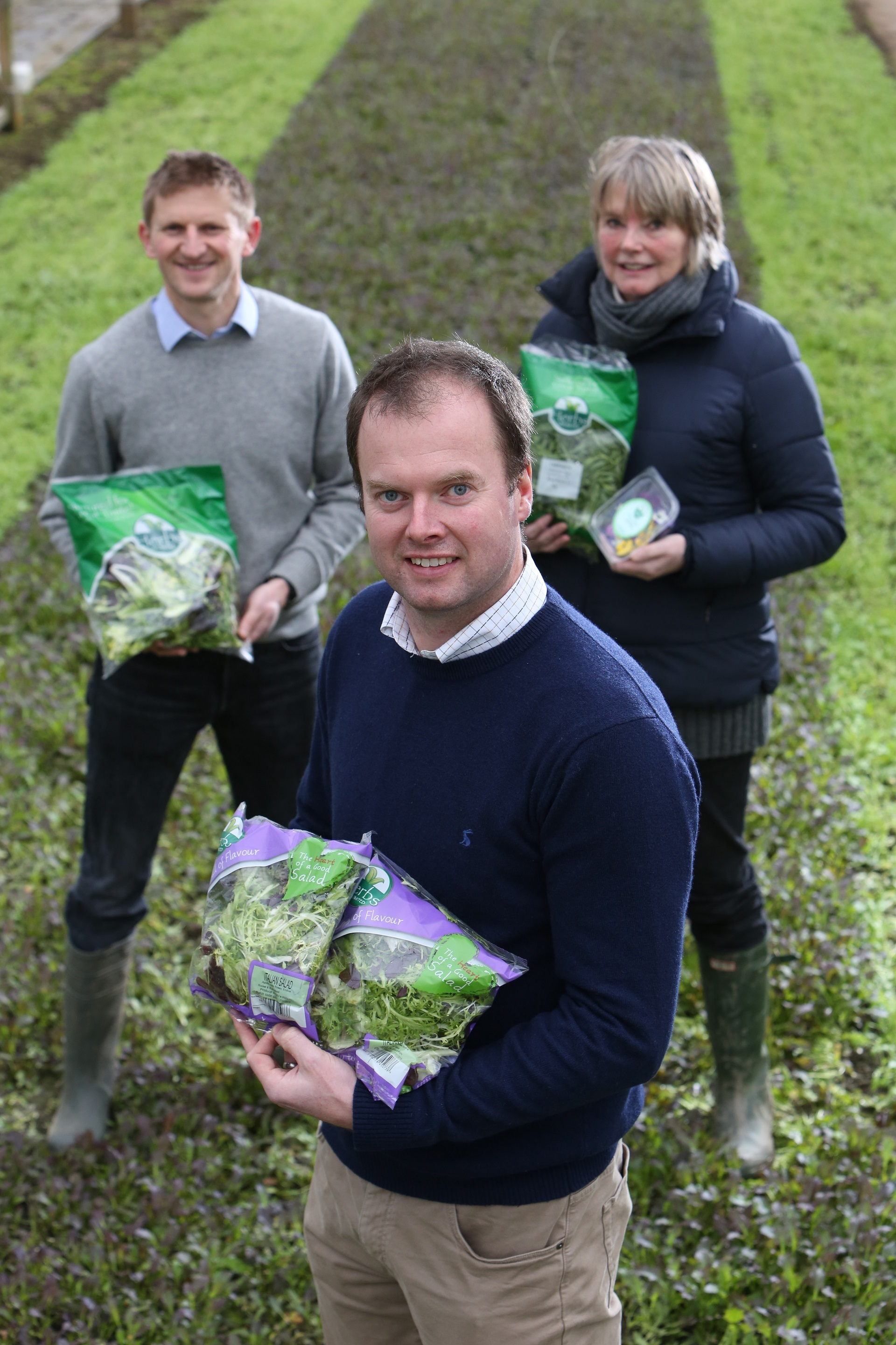 Philip Dodd (front) who has been appointed MD of Herbs Unlimited with Trevor Bosomworth and Alison Dodd