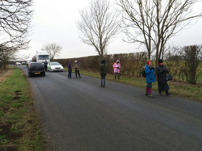 SLOW WALK: Protestors on Habton Road, Kirby Misperton Picture: North Yorkshire Police