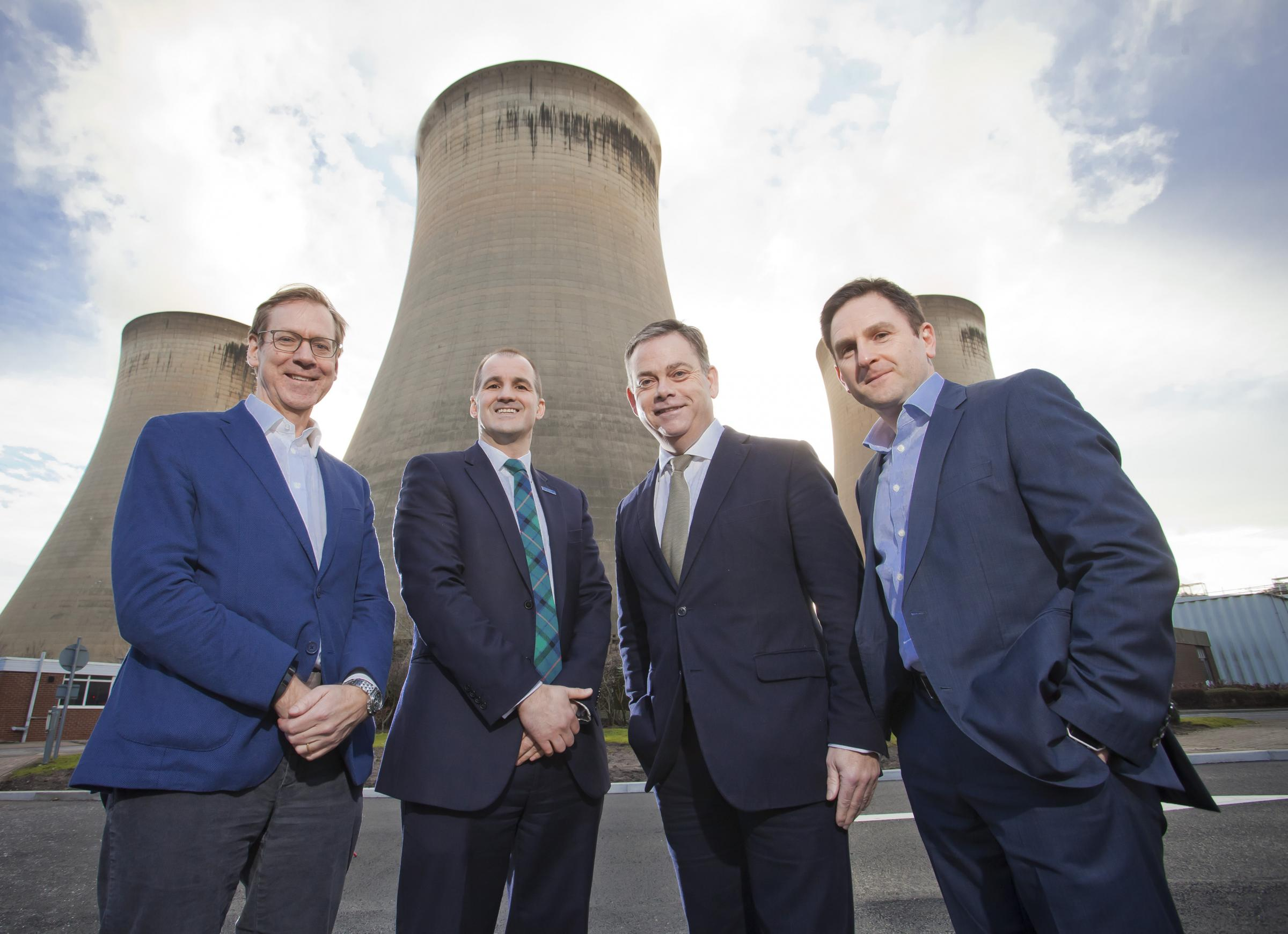 L-R Will Gardiner (Drax Group CEO) Jake Berry, Nigel Adams, Andy Koss (Drax Power CEO)_
