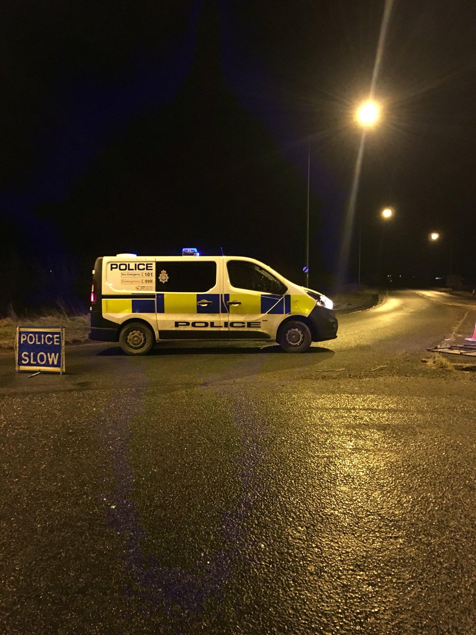 A police van at the road closure on the A1237 last night. Picture: @PC541NYP