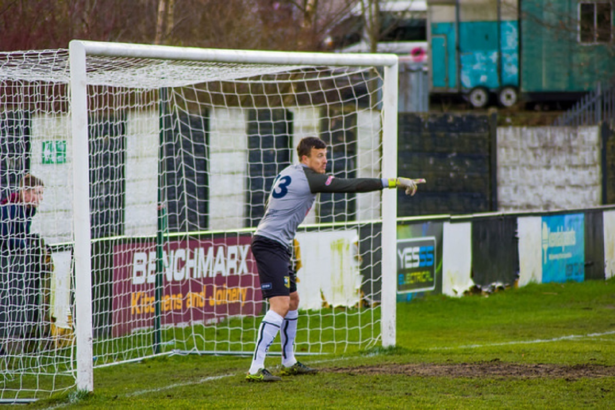 LOW FIVES: Tadcaster Albion's Michael Ingham, who was much the busier of the two keepers as the Brewers were knocked out of the West Riding FA County Cup after a heavy defeat by Ossett Albion