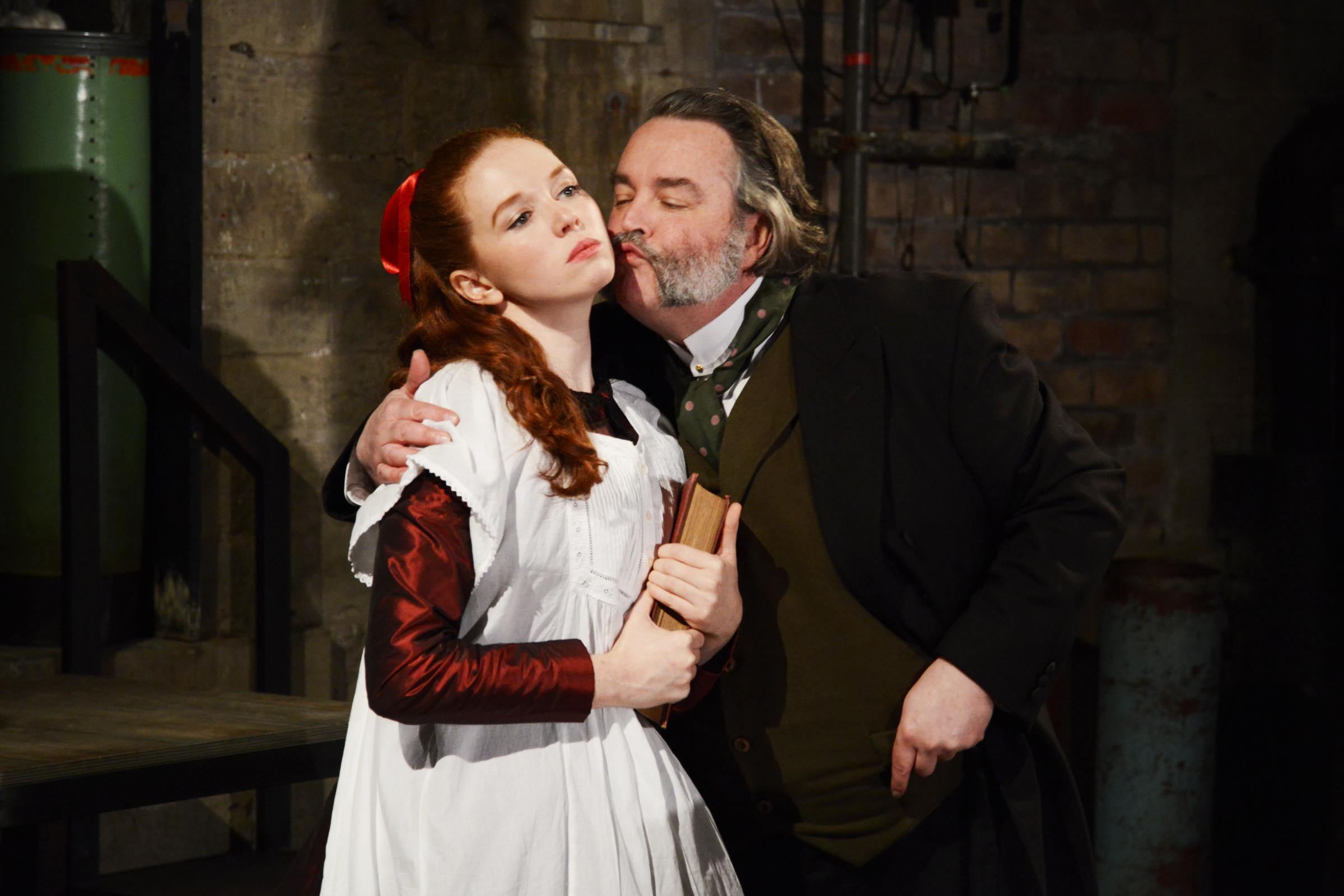 Vanessa Schofield as Louisa Gradgrind and Howard Chadwick as Josiah Bounderby in Northern Broadsides' Hard Times. Picture: Nobby Clark