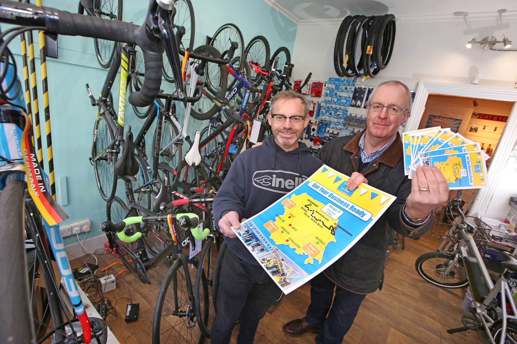 Venture Cycles, Thirsk, owner Iaen Bell, who is pictured with District Council Leader, Councillor Mark Robson.