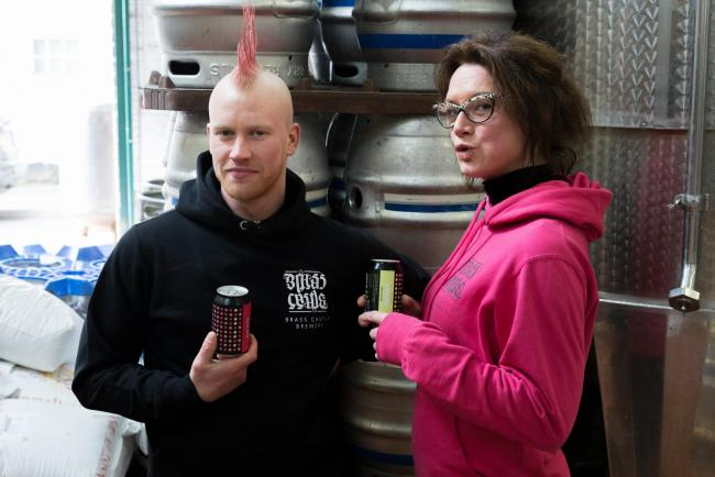 NEW BEER: Brewer Sam Teale and marketing manager Amy Pulling at Brass Castle Brewery in Malton