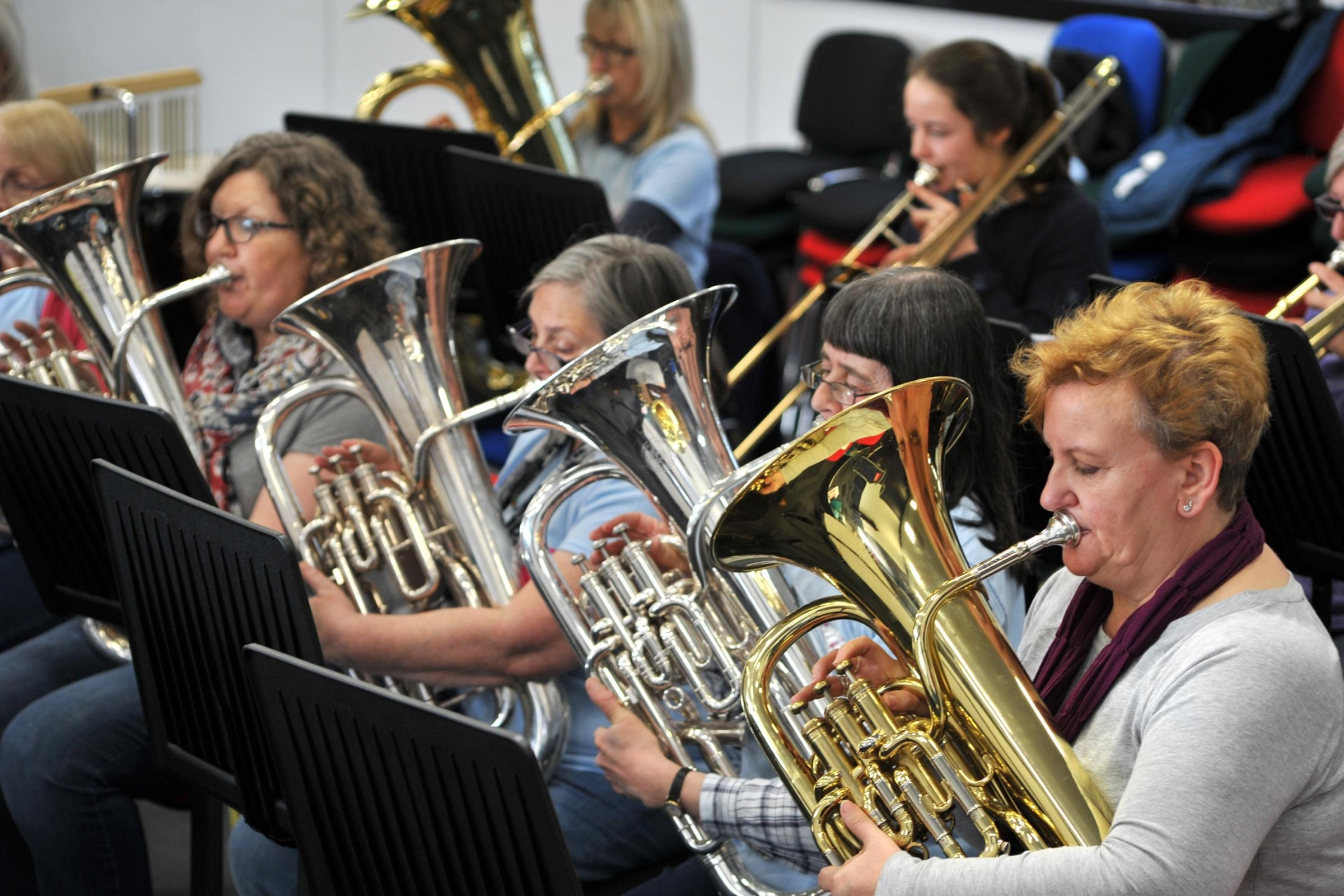 FEISTY FORTY: Members of Femmes Fortissimo rehearse for their concert in York on Saturday