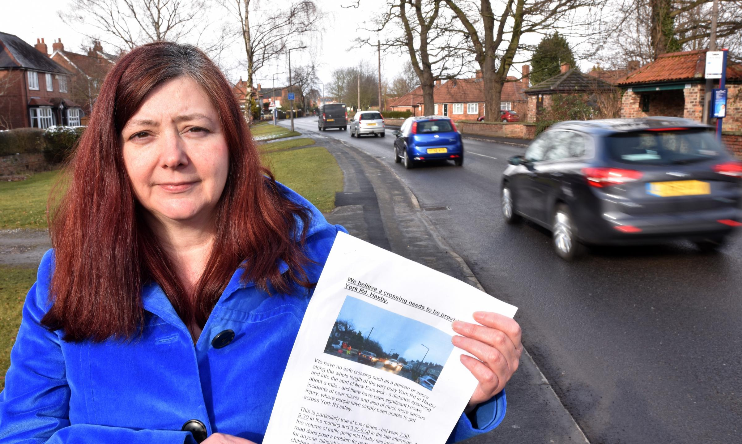 SAFETY CONCERNS: Marie Dowling is petitioning for a crossing on York Road in Haxby.  Picture: Frank Dwyer