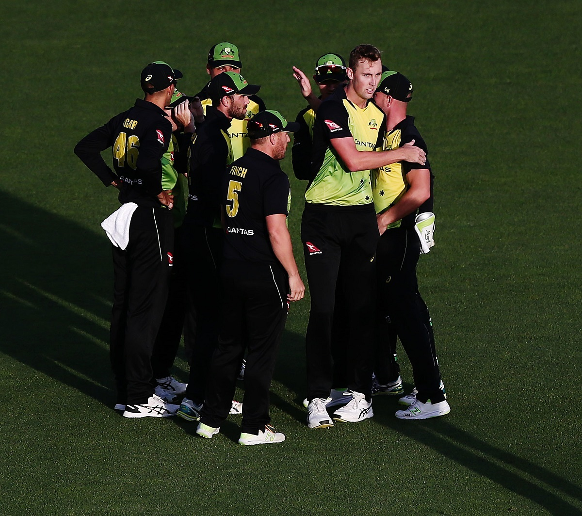 Billy Stanlake celebrates with his Australian team-mates after taking a New Zealand wicket in the T20 international tri-series final at Eden Park in Auckland. Picture: Anthony Au-Yeung/www.photosport.nz