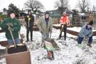 Volunteers who have been working on the Glen Allotments on 6th Avenue to get them back up to scratch after they were burgled before Christmas.(l-r), Rob Vasey, Richard Walker, Mac Mitchell , Mick Stone (Portakabin and Barry Bothamley     Picture Frank Dwy