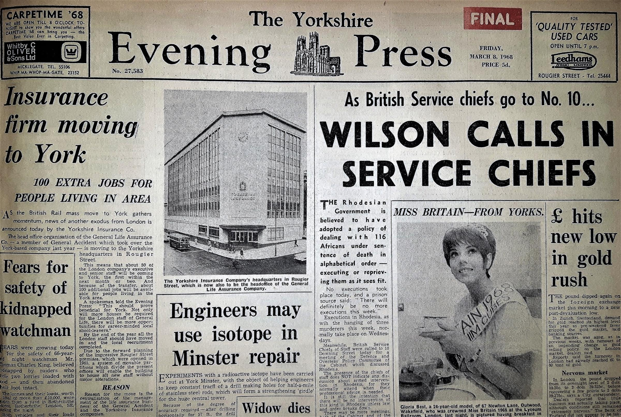 The front page of the Yorkshire Evening Press from March 8, 1968