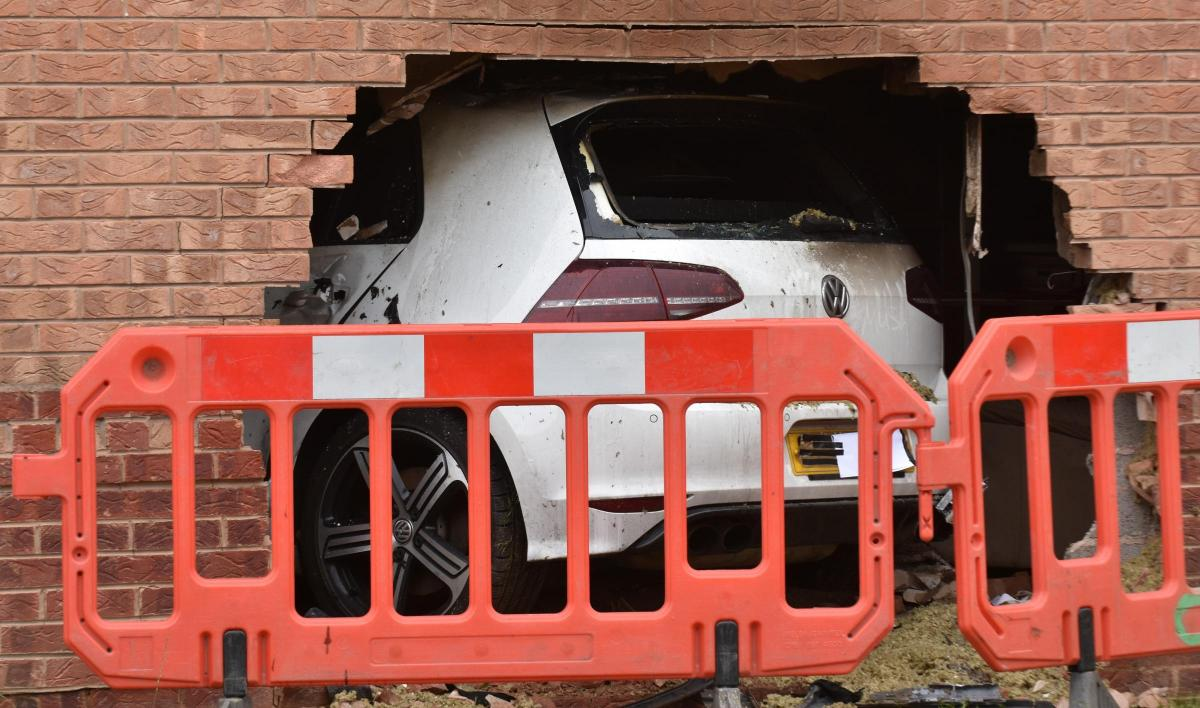 The scene at Rivelin Way, Rawcliffe, after a car crashed into a house. Picture: Frank Dwyer.