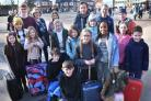 Parents and pupils from Knavesmire School who will try for a second time to fly to Barcelomna after weather delayed them on Thursday  Picture Frank Dwyer.