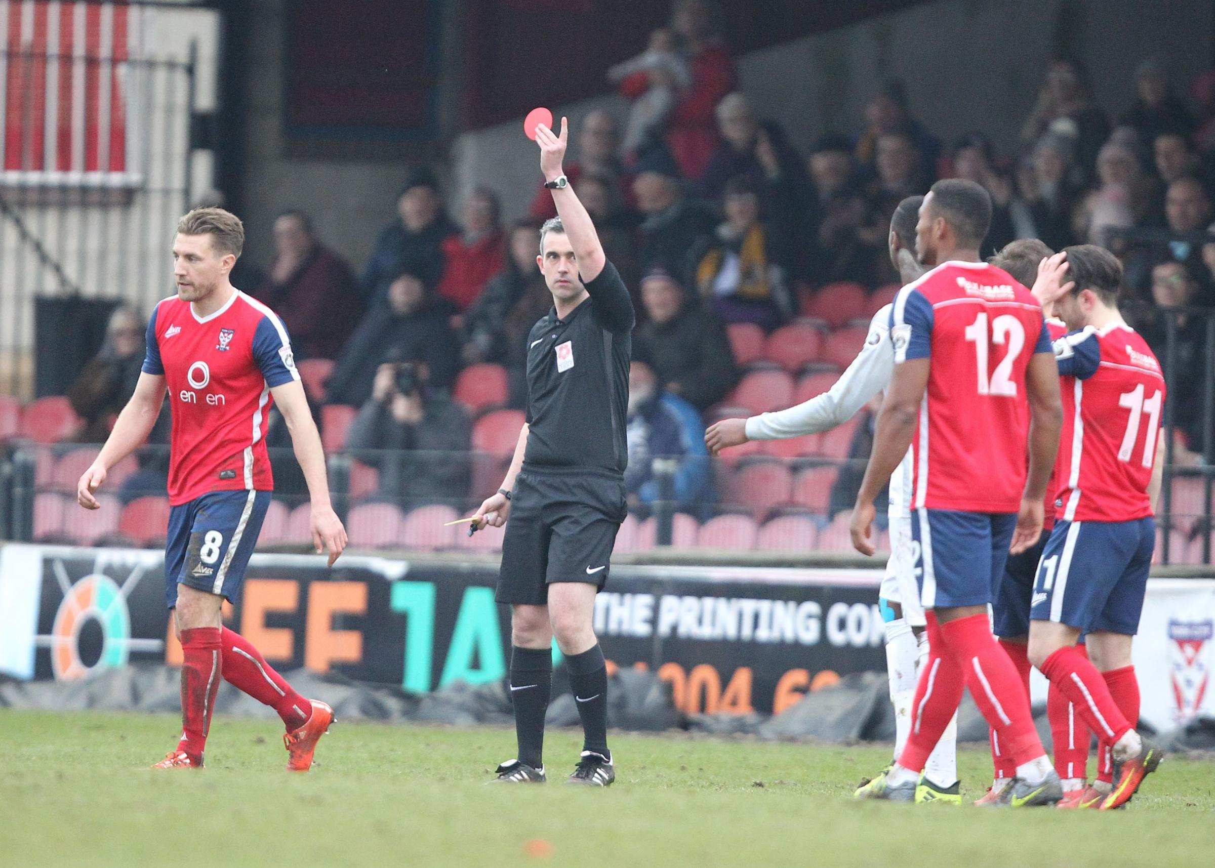 BOILING POINT: Simon Heslop is sent off in the first of three red cards during York City's 1-0 win against Boston. Picture: Gordon Clayton