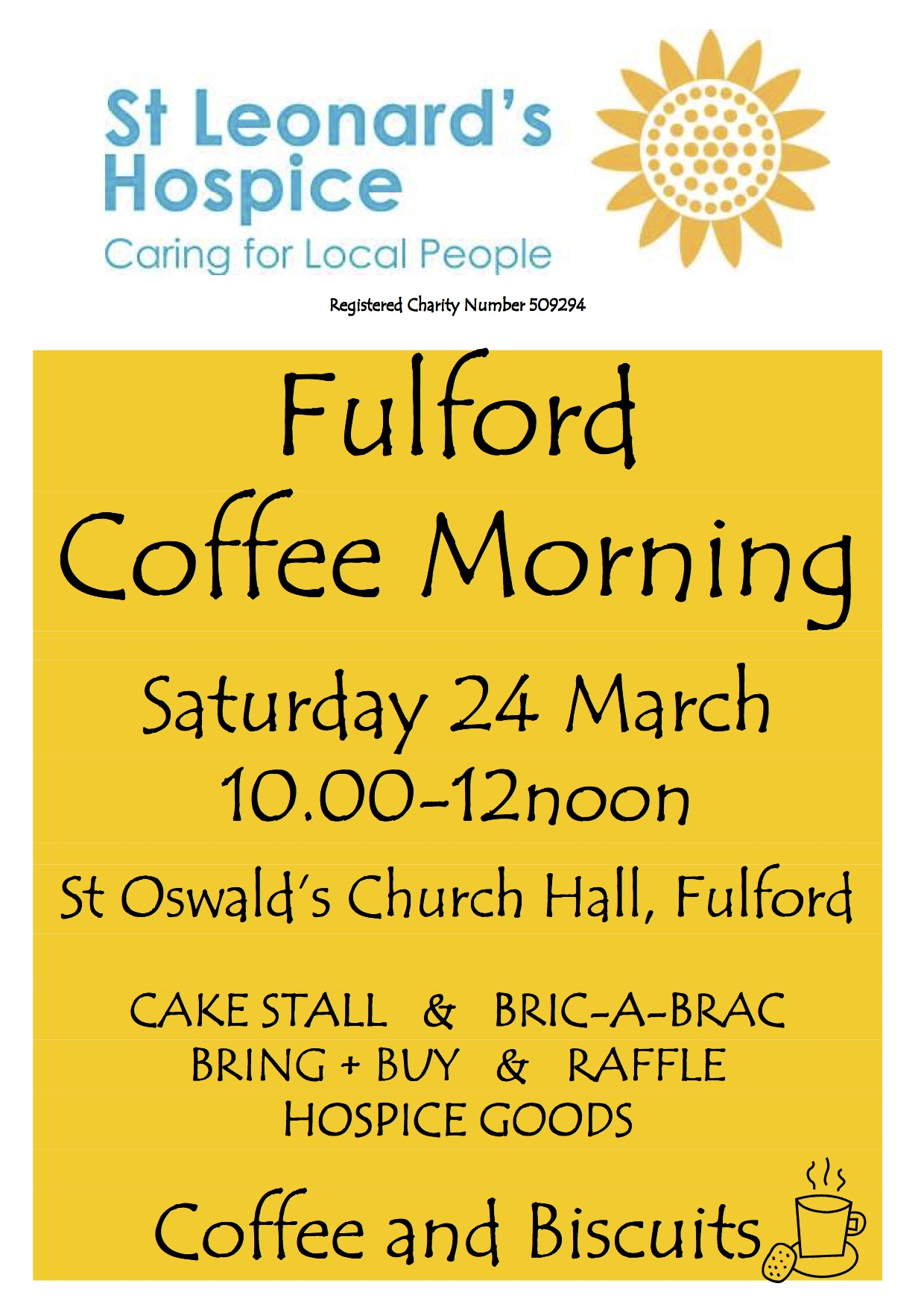 Fulford Coffee Morning in aid of St Leonard's Hospice