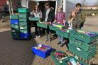 Pupils from Archbishop Holgate's CE School with their Easter donation to the foodbank