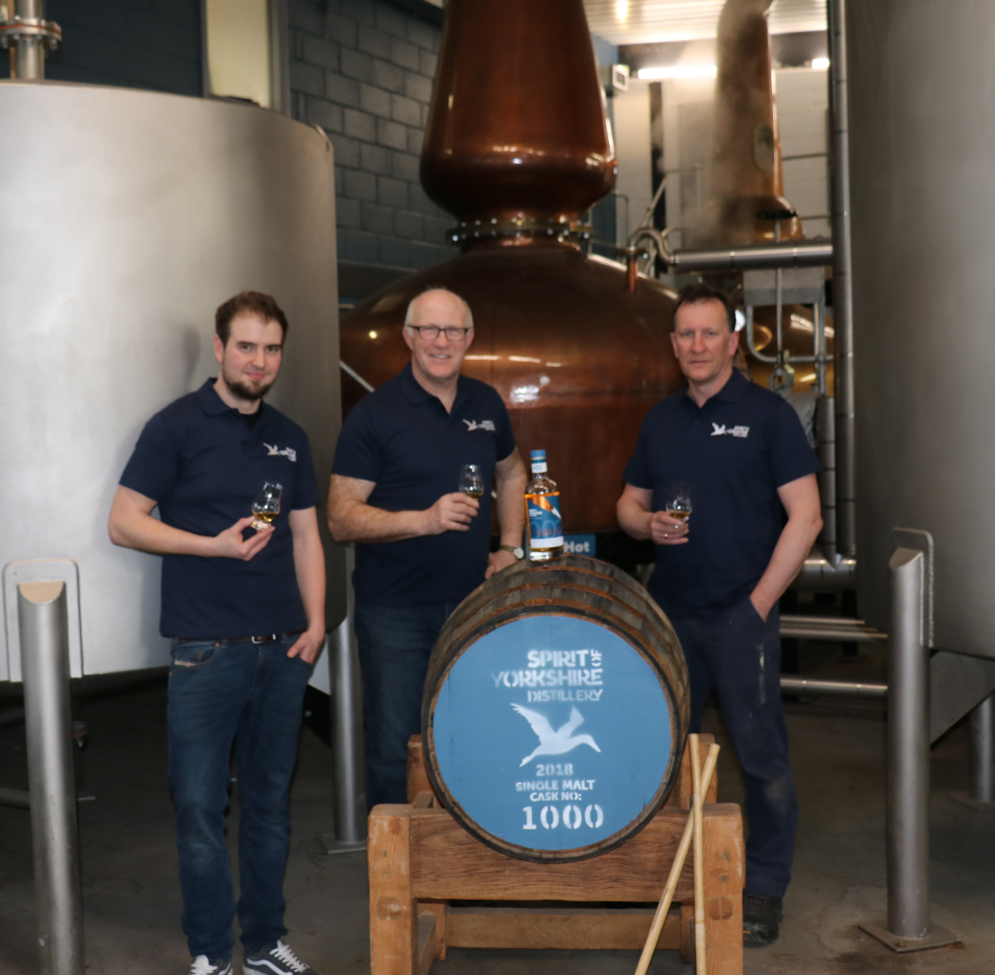 From left, Joe Clark, Tom Mellor and David Thompson from the Spirit of Yorkshire distillery