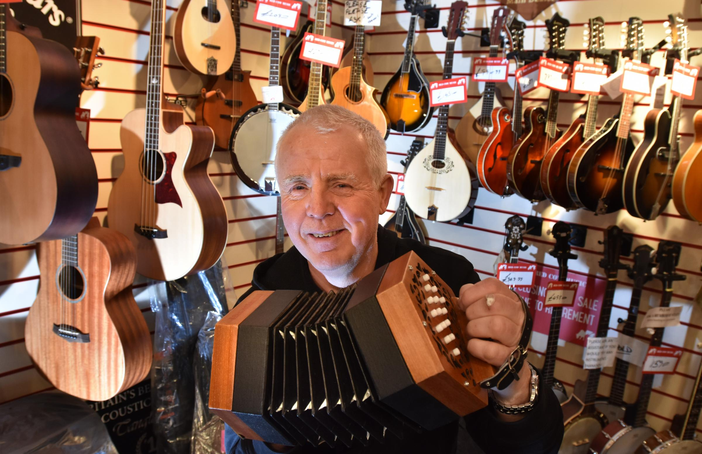 Steve Morrison, who is retiring from Red Cow Music shop in Goodramgate, York                                      Picture: Frank Dwyer