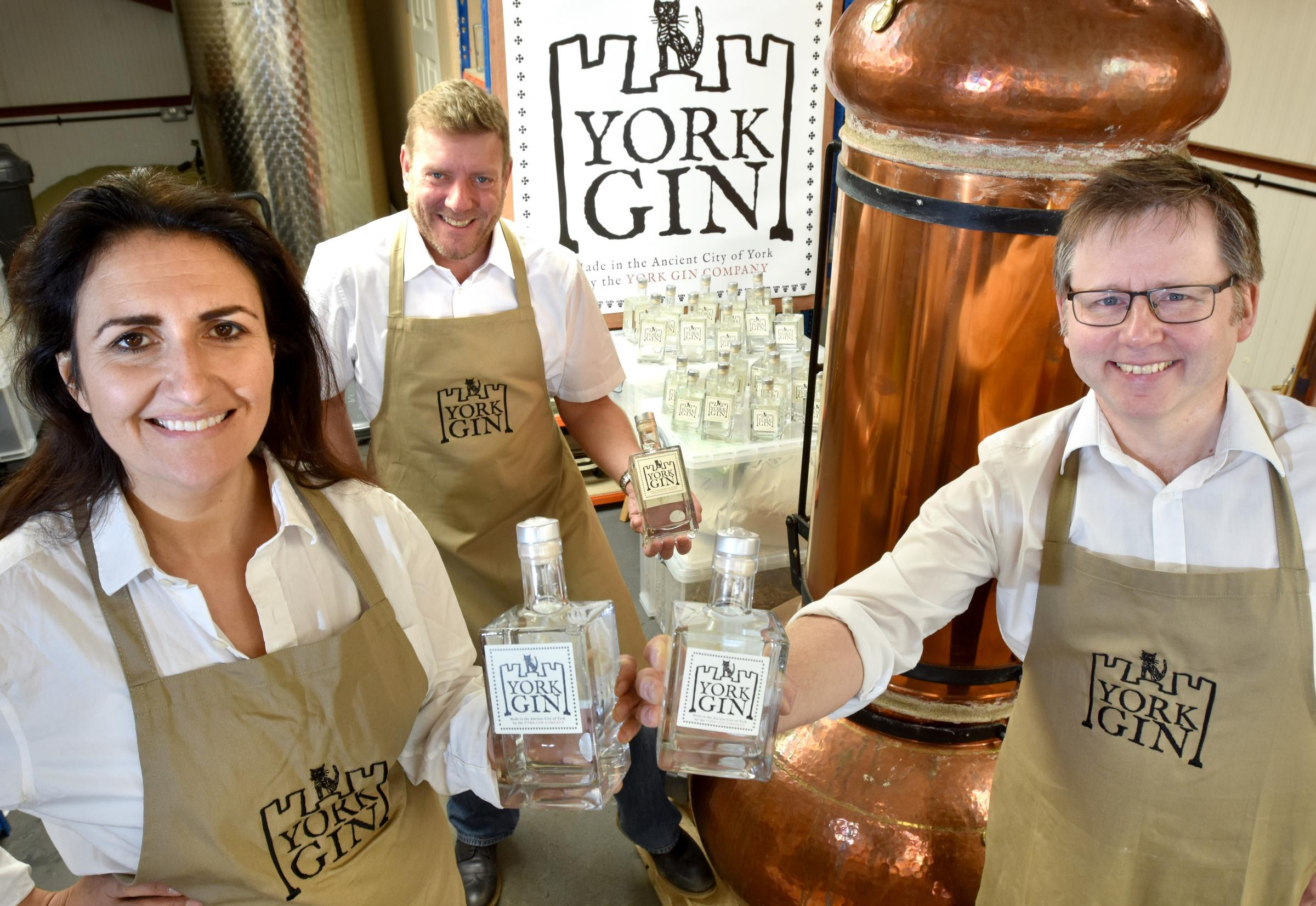 Launch of York Gin Company  at  Acaster Malbis (l-r) Emma Godivala , Peter McNichol and Paul Crossman Picture Frank Dwyer.