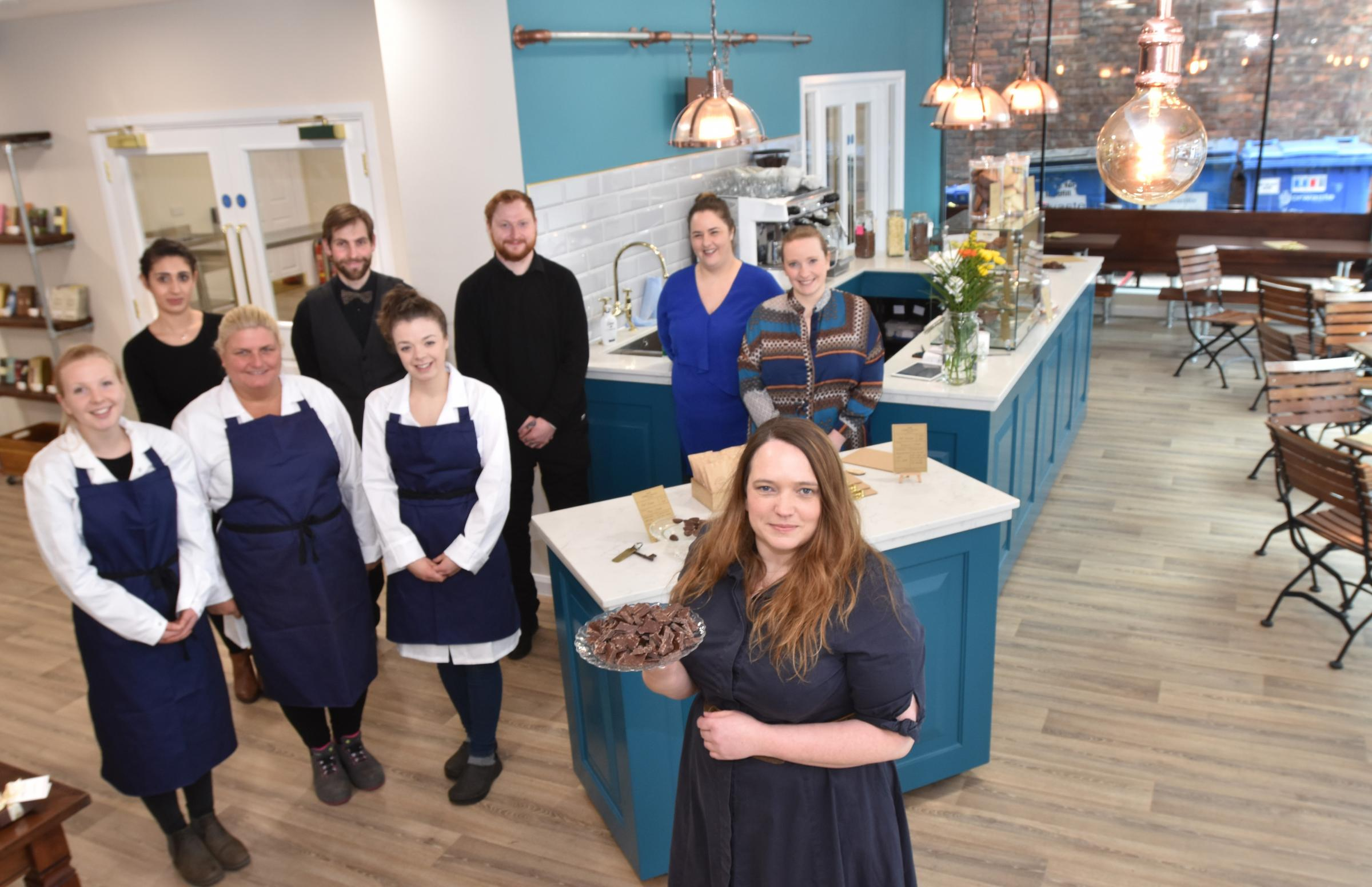 York Cocoa  House opening in Castlegate , York   Sophie Jewett and the team   Picture Frank Dwyer.