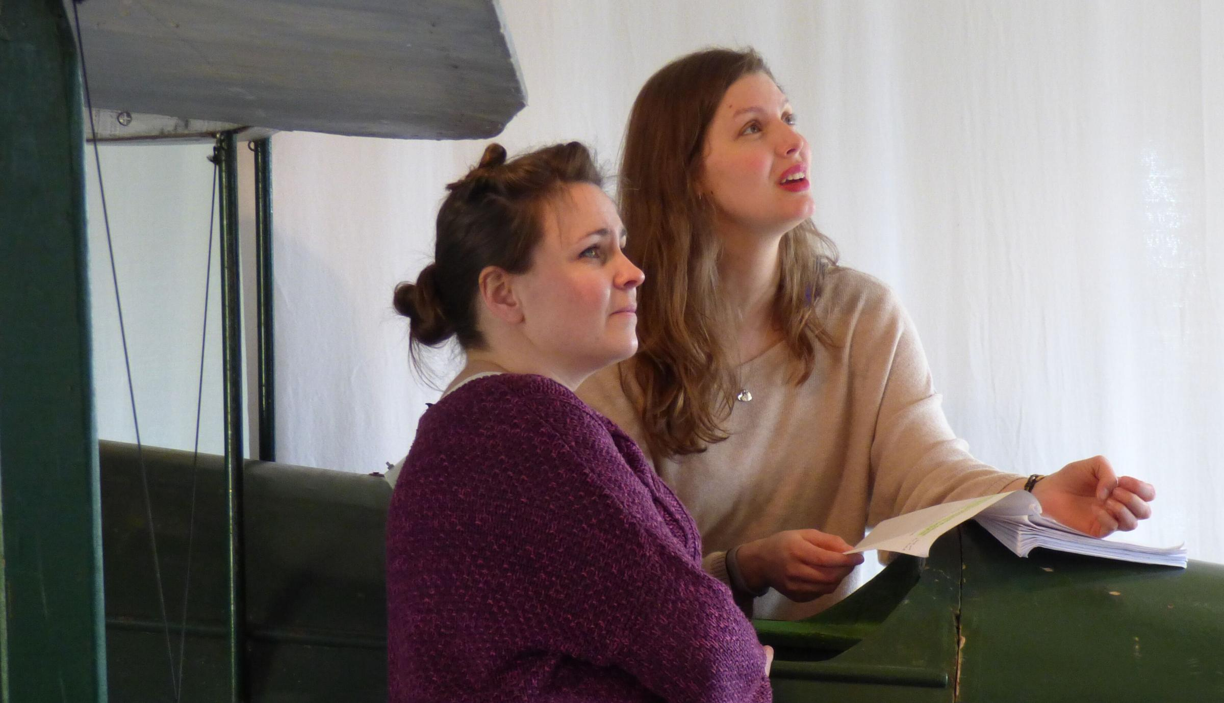 Frances Tither, left, and Sarah Raine in Badapple Theatre Company's Amy Johnson