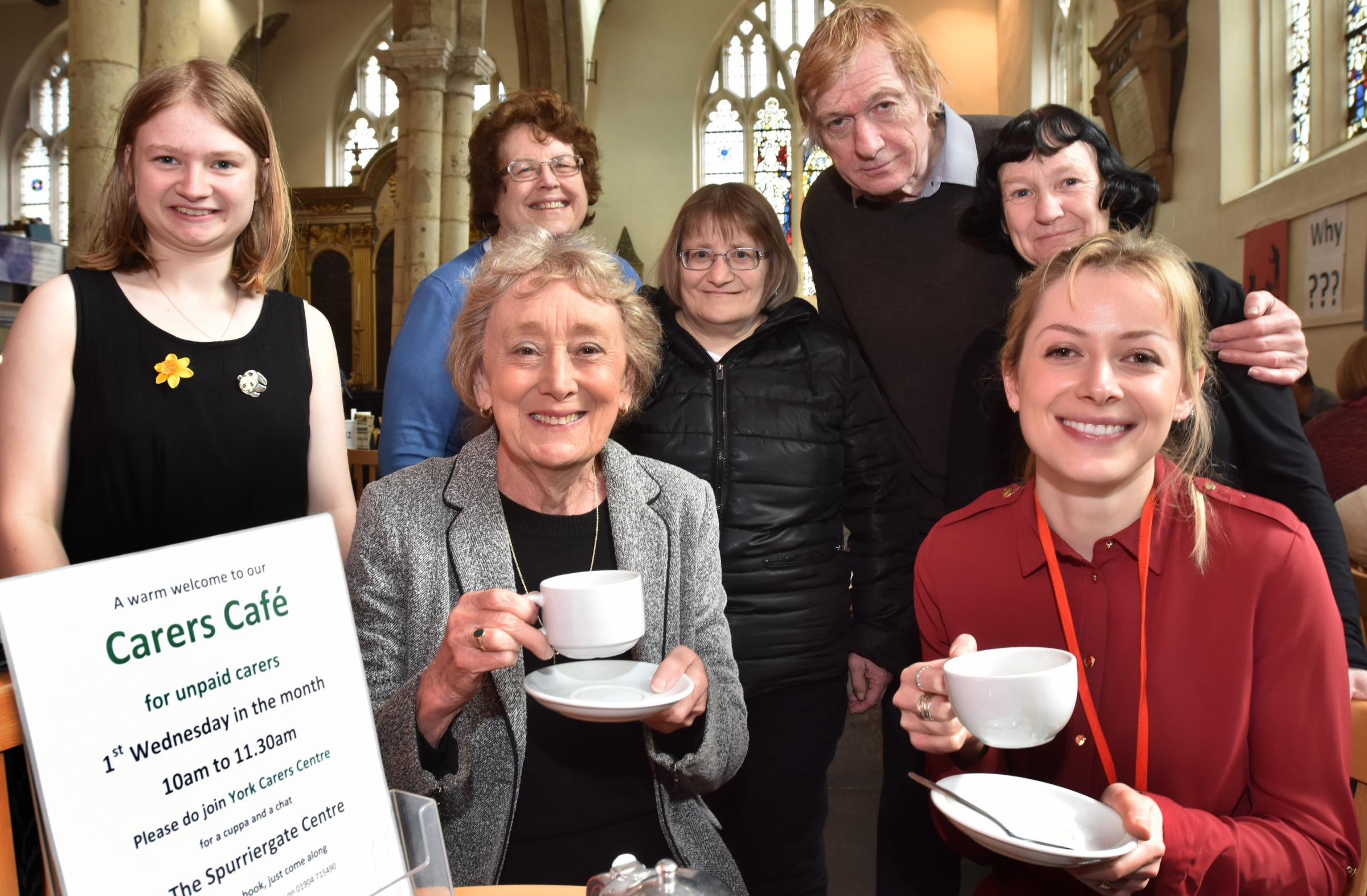 CUPPA: Councillor Carol Runciman, left, and care support worker Alice Lloyd-Jones join others at the Carers Cafe, held every Wednesday at the Spurriergate Centre, York  Picture: Frank Dwyer