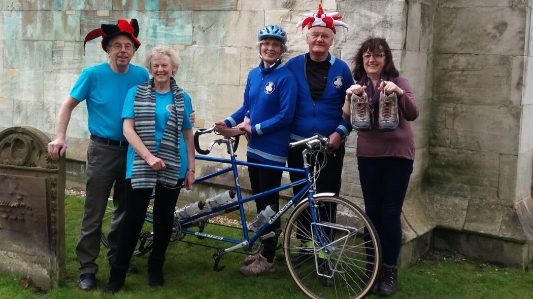 TRIBUTE CHALLENGE: From left: Walkers Alec and Chris Ramsden, Ros and Ian Aitchison who will ride the route by tandem, and walker Kathy Gilbank, who are gearing up for the Flying Man Challenge