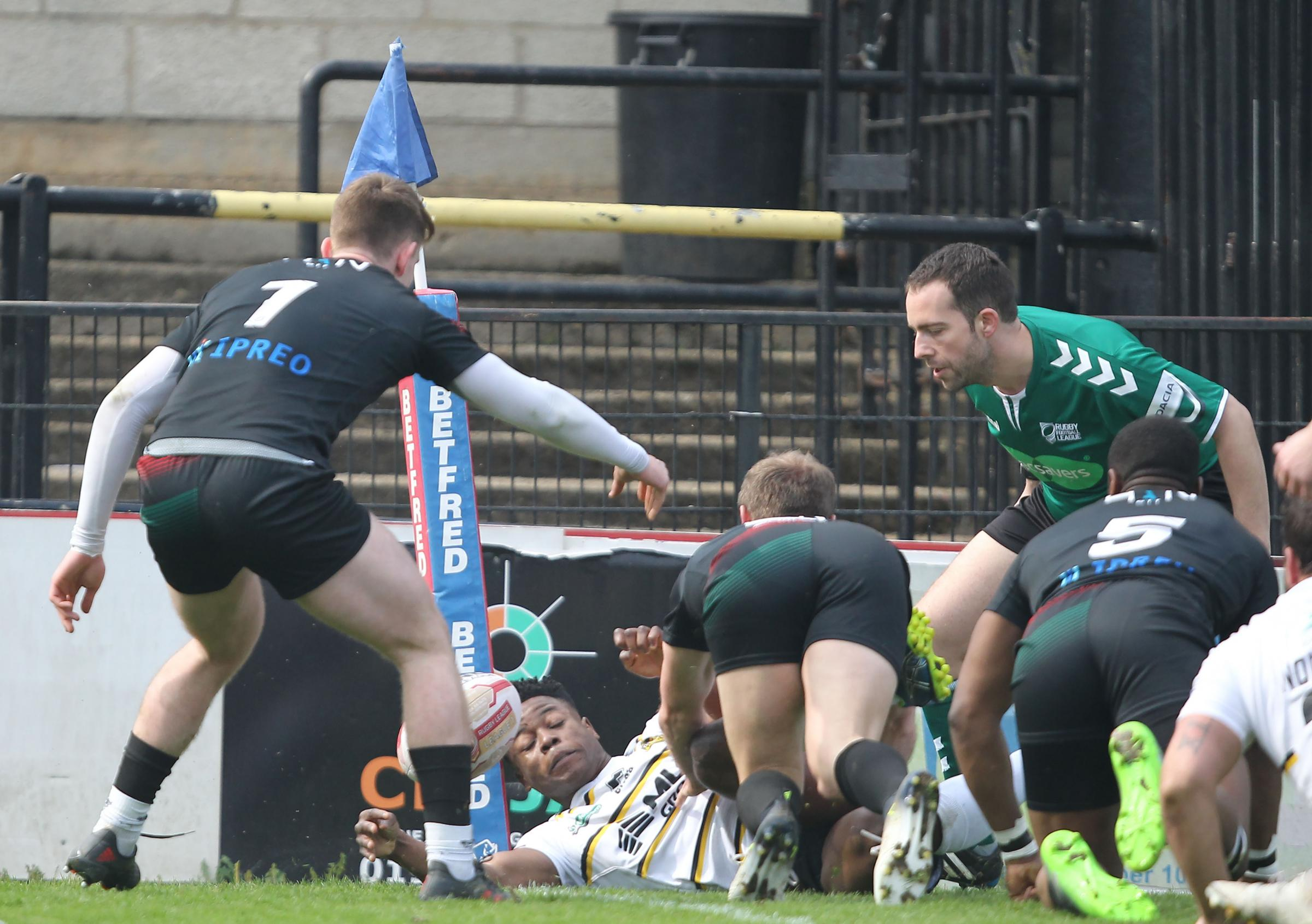 York City Knights Judah Massive, centre, scores the opening try of the big League One win over London Skolars at Bootham Crescent. Picture: Gordon Clayton