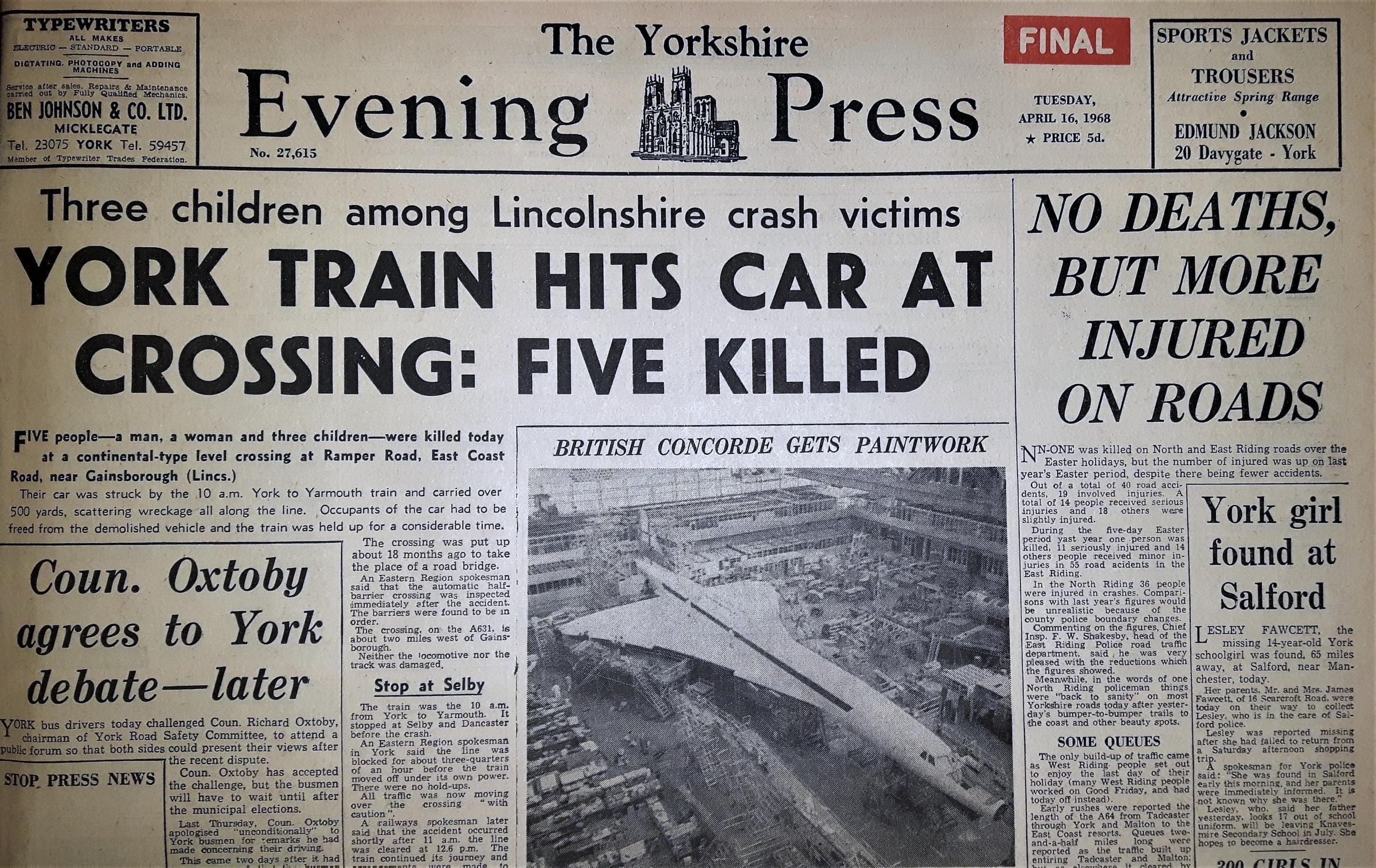 The front page of the Yorkshire Evening Press from April 16, 1968