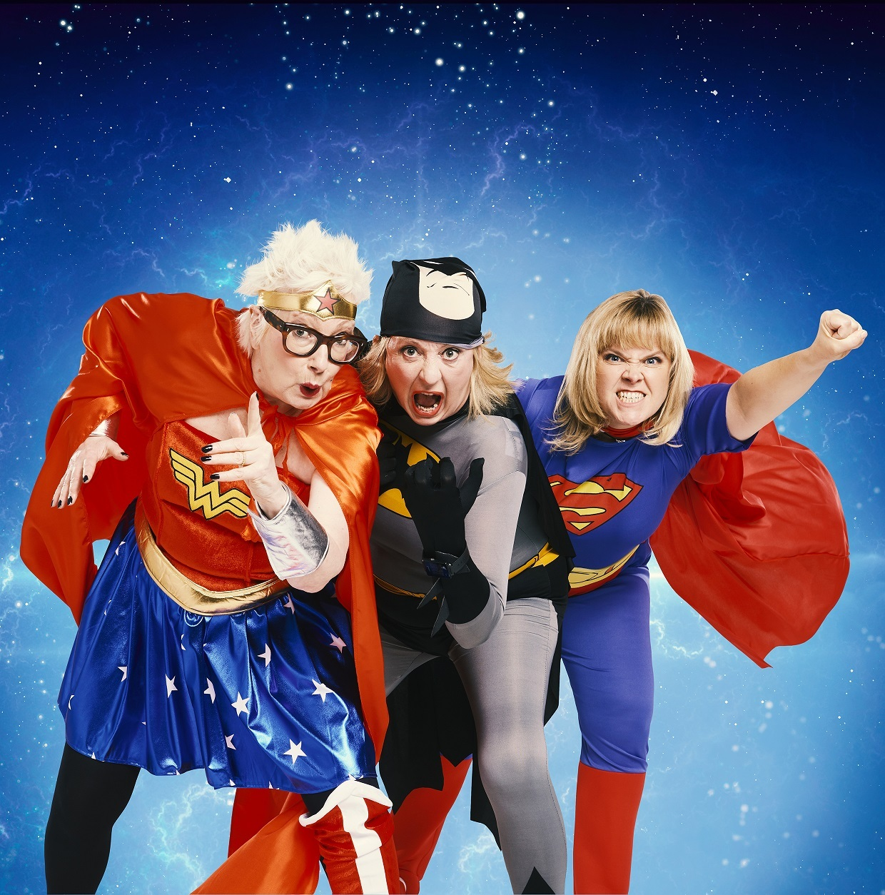 To the rescue: Grumpy Old Women trio Jenny Eclair, left, Dillie Keane and Lizzie Roper test out their superpowersGrumpy
