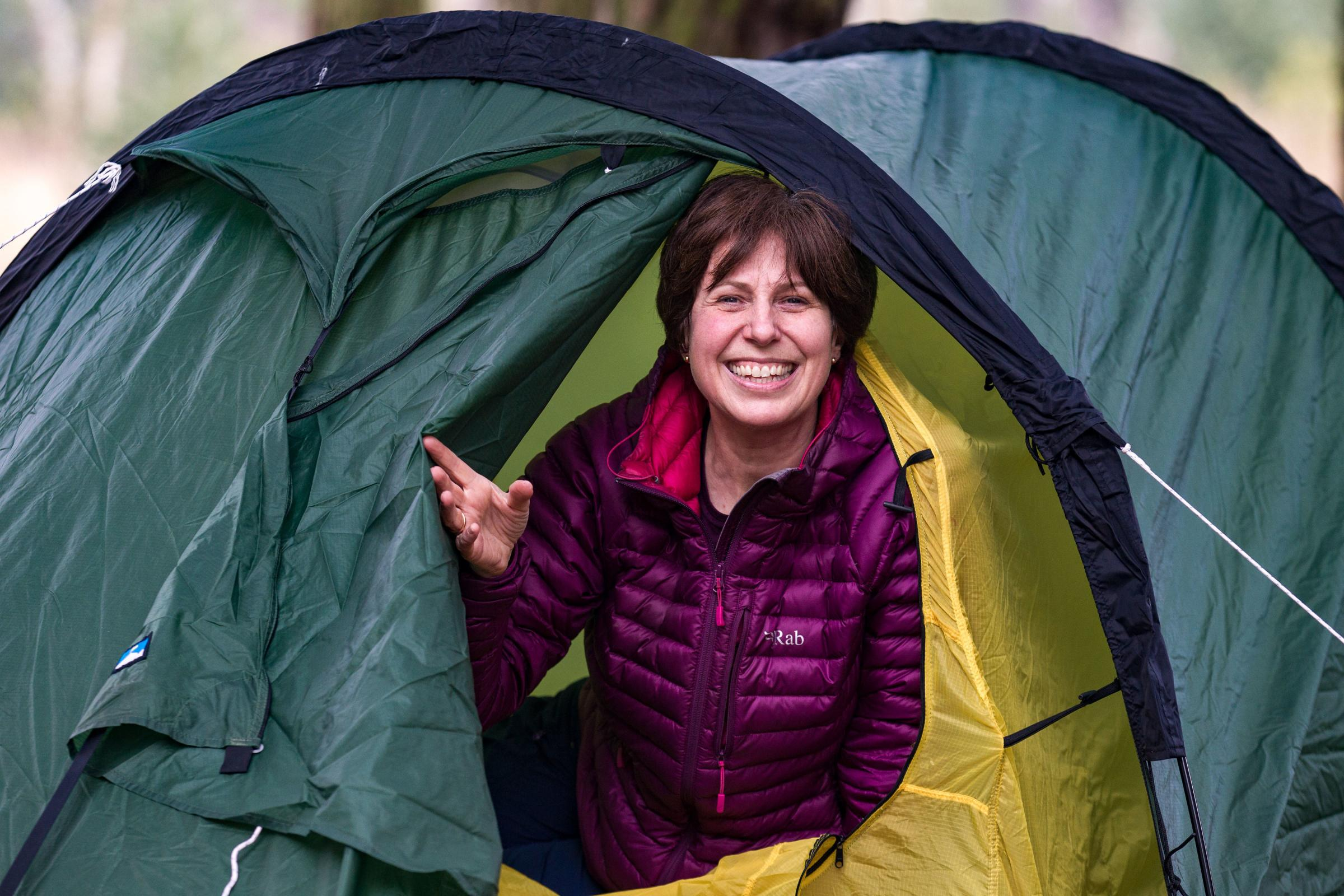 BE PREPARED: Catherine Adamson in her tent ahead of her 109-mile wild camping trek for charity Picture: Andrea Denniss