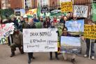 Biofuelwatch, along with the Coal Action Network, anti fracking activists , organised a protest outside the Grand Hotel, York durung the Drax Plc  Annual General Meeting Picture Frank Dwyer.
