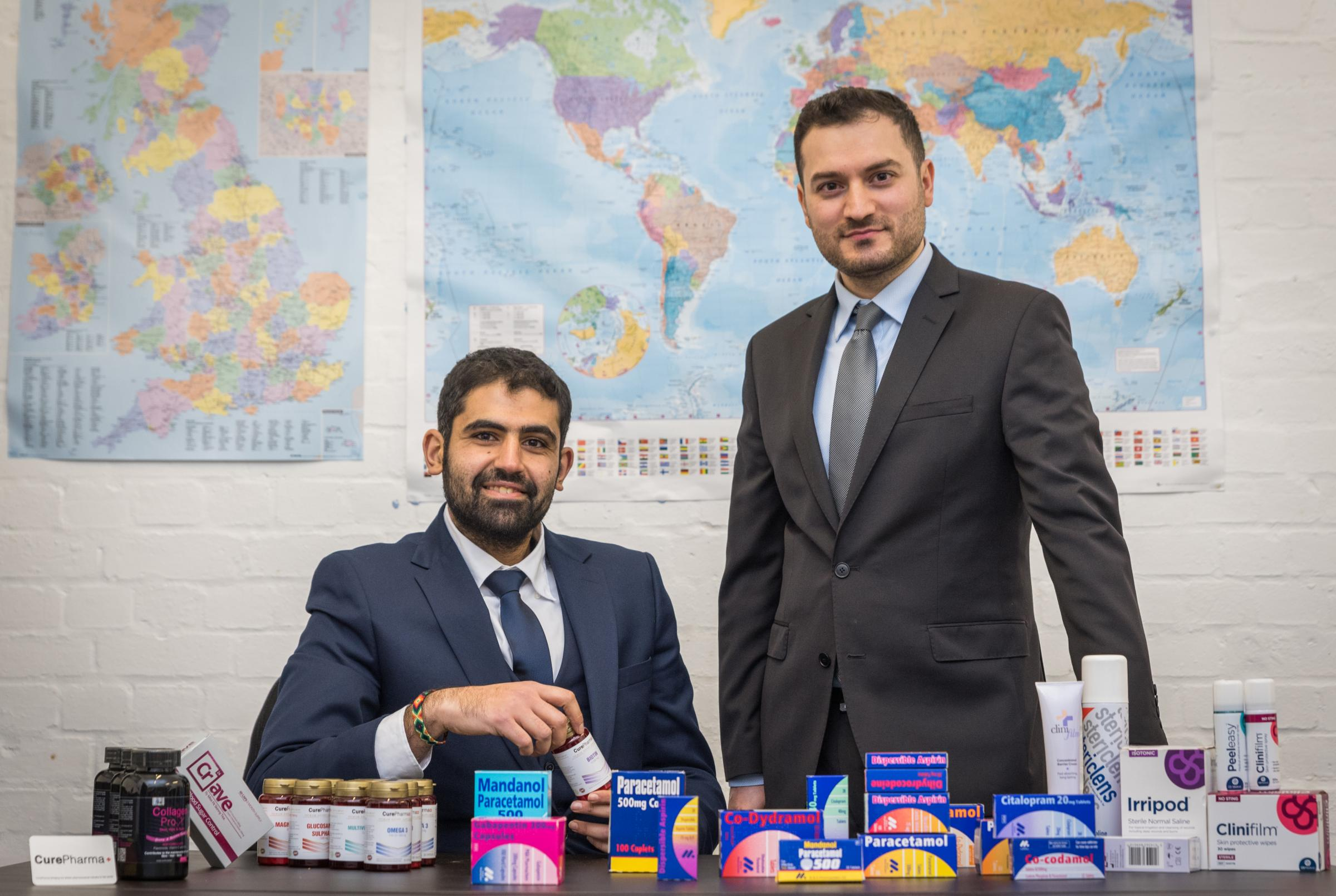 CurePharma founders, director, Mustafa Al-Shalechy (left) and business development manager, Ali Alshamari, who have opened an office in Doha, Qatar, after helping to export £500,000 worth of medicines and pharmaceuticals to The Middle East in 2017.
