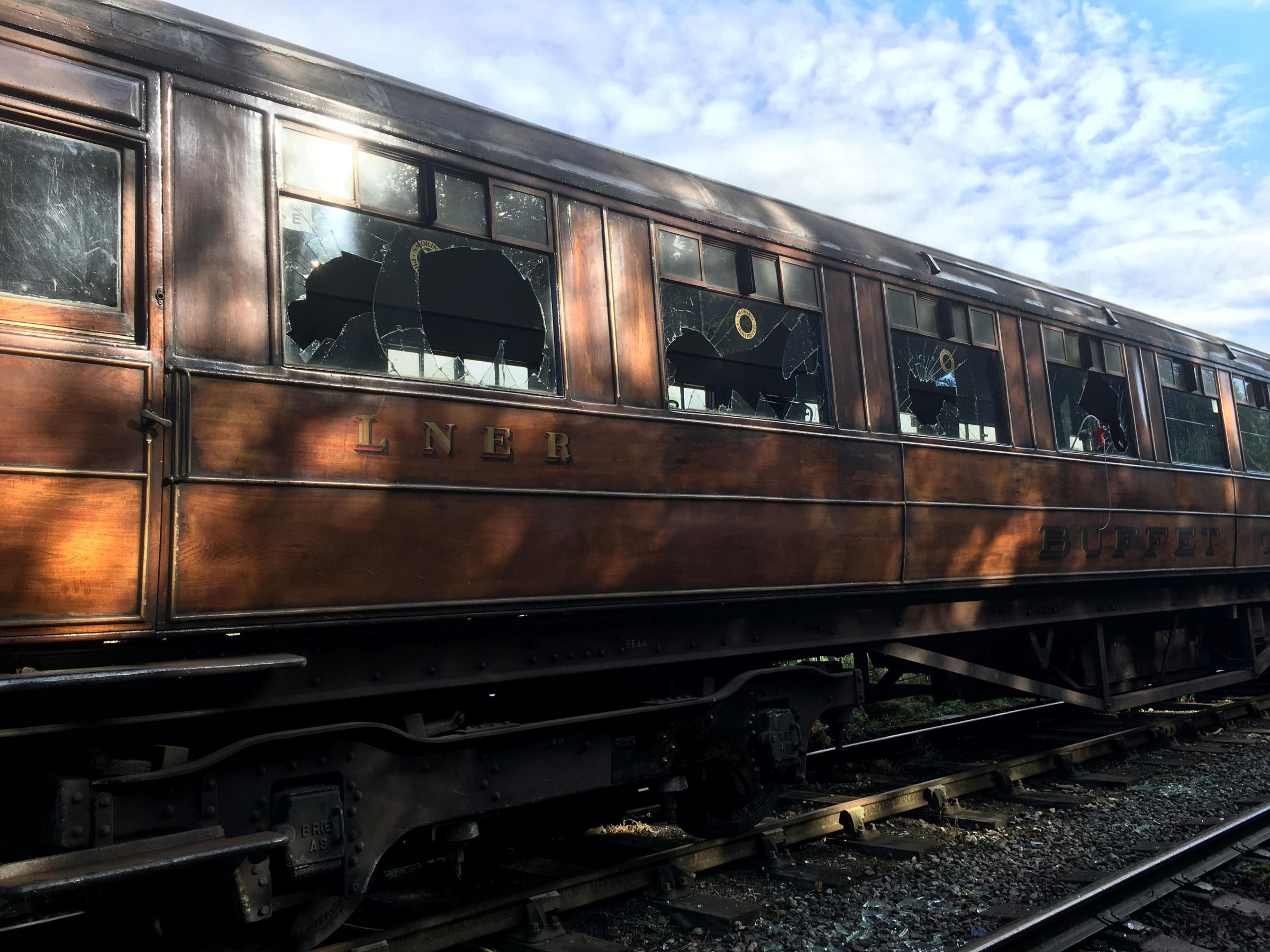 'STUPID': One of a set of antique train carriages that were vandalised. Picture: North Yorkshire Moors Railway