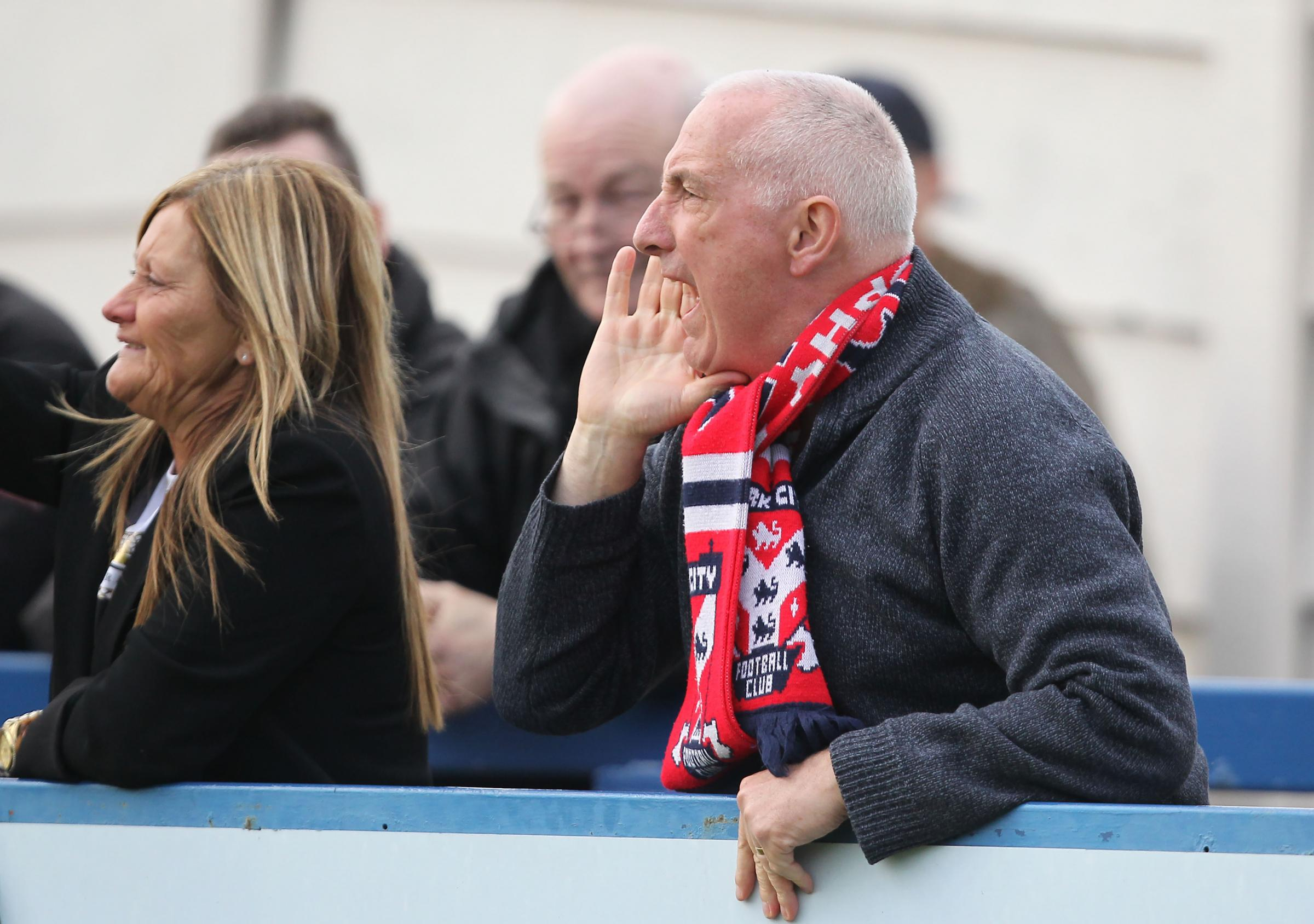 LOUD AND PROUD: York City South member Andy Naylor vents his frustration at the referee during another long National League North trip to Gainsborough Trinity two weeks ago. Hendon-based Naylor has been to 32 games this season