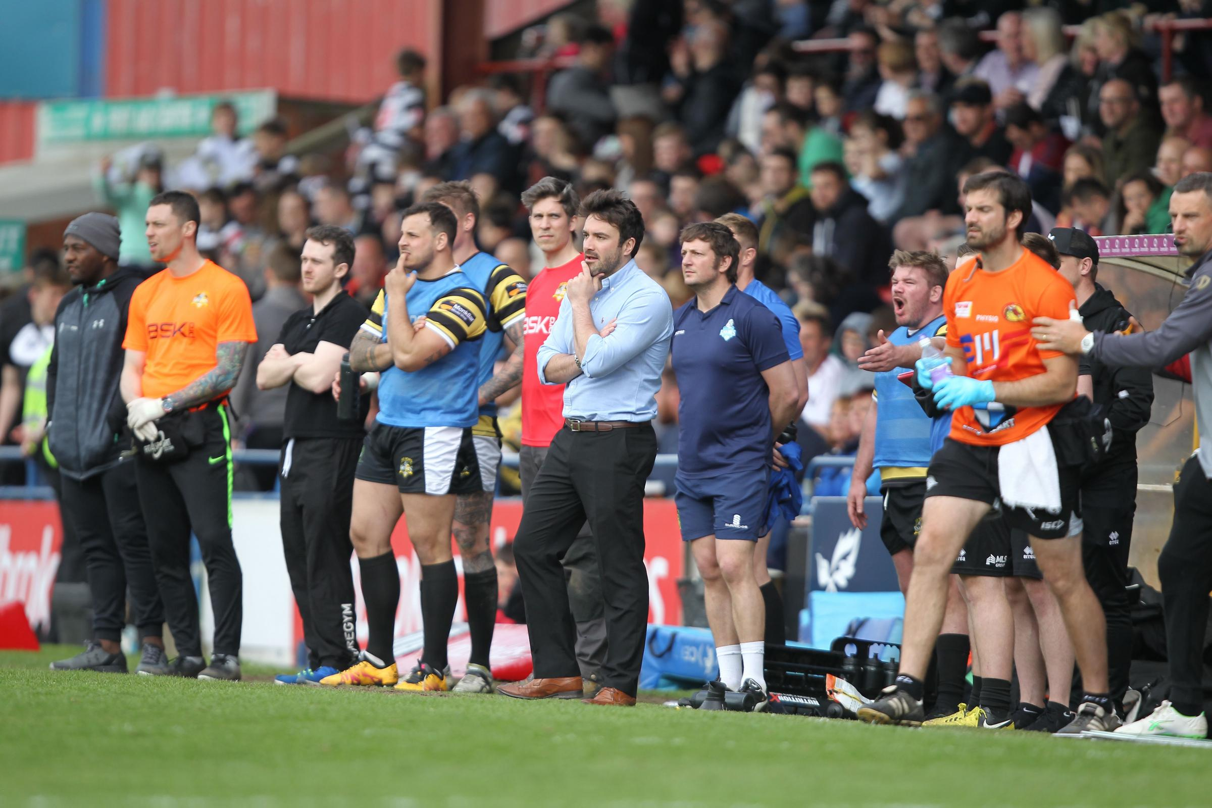 MAINTAIN STANDARDS: York City Knights coach James Ford, centre, looks on during last week's Ladbrokes Challenge Cup fifth round tie against Catalans Dragons at Bootham Crescent. Picture: Gordon Clayton/GCSPix