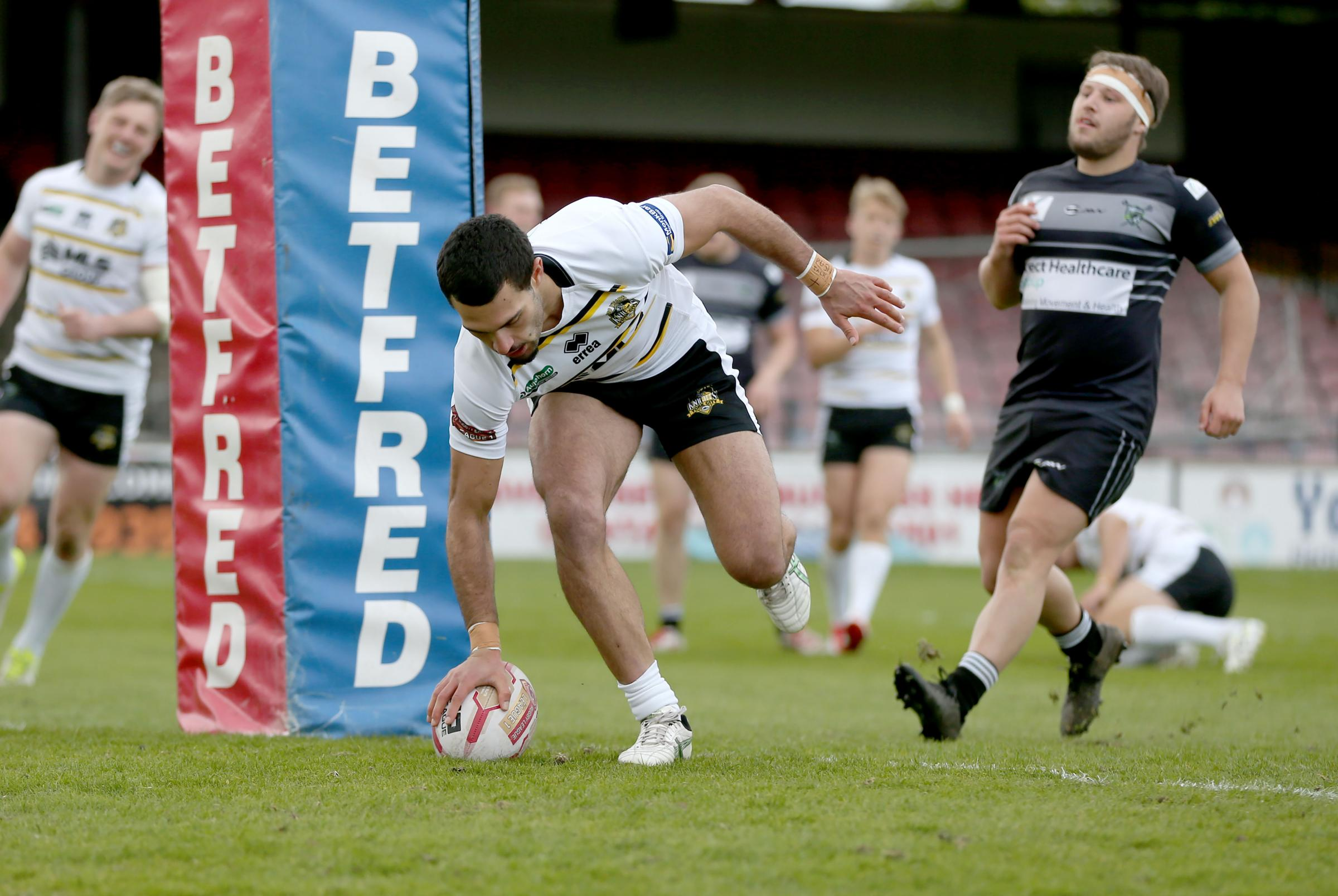 Kieren Moss touches down his third try in York City Knights' world record-breaking 144-0 win against West Wales Raiders at Bootham Crescent. Picture: Gordon Clayton