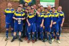 RUFF AND READY: York FA Saturday Junior Cup winners Rufforth United prepare to celebrate their victory over Thorpe United reserves