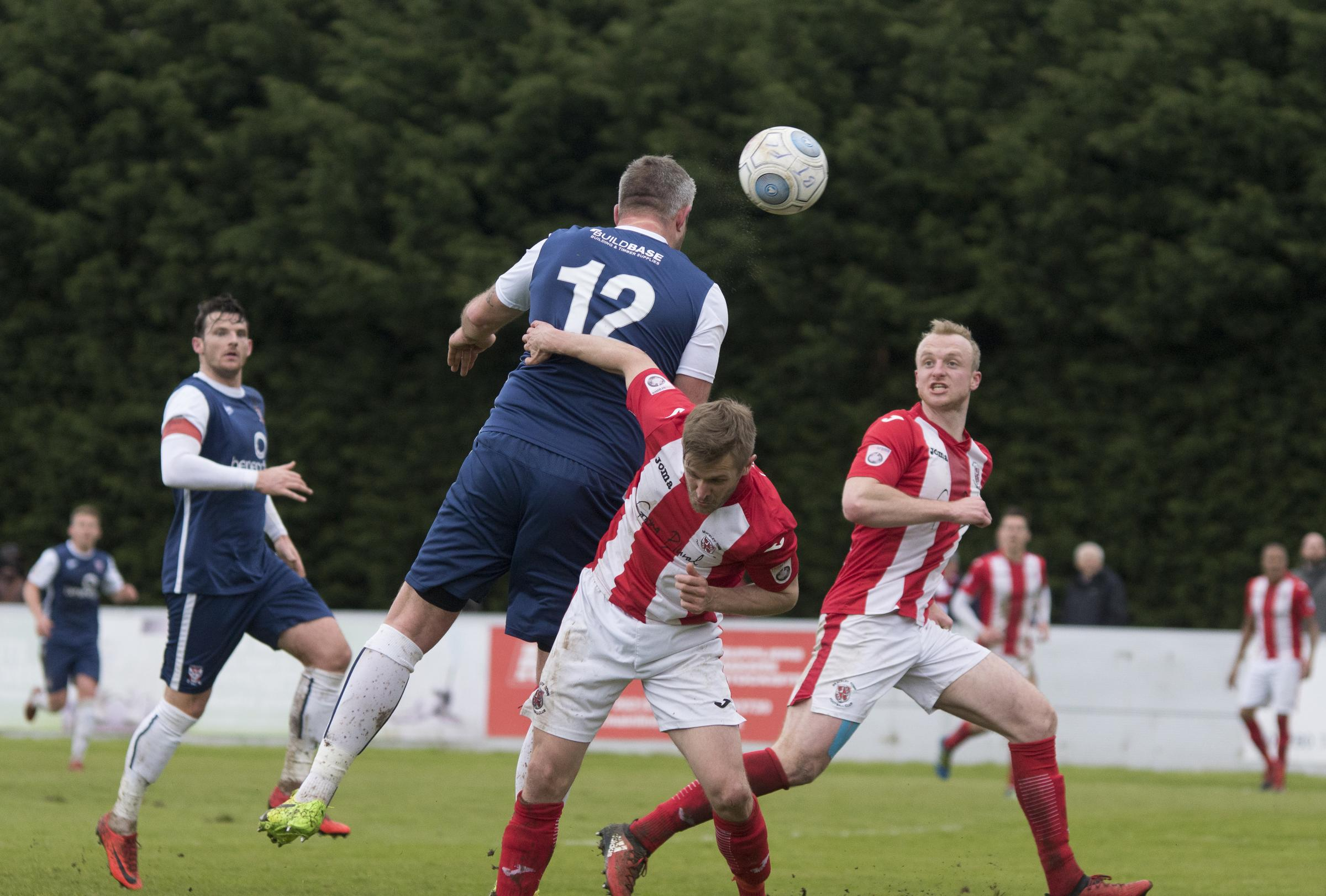 EYES ON TARGET: Jon Parkin, pictured scoring a disallowed goal against Brackley at the weekend, is in no mood to hang up his boots at 36 and wants to deliver success for York City next season. Picture: Ian Parker