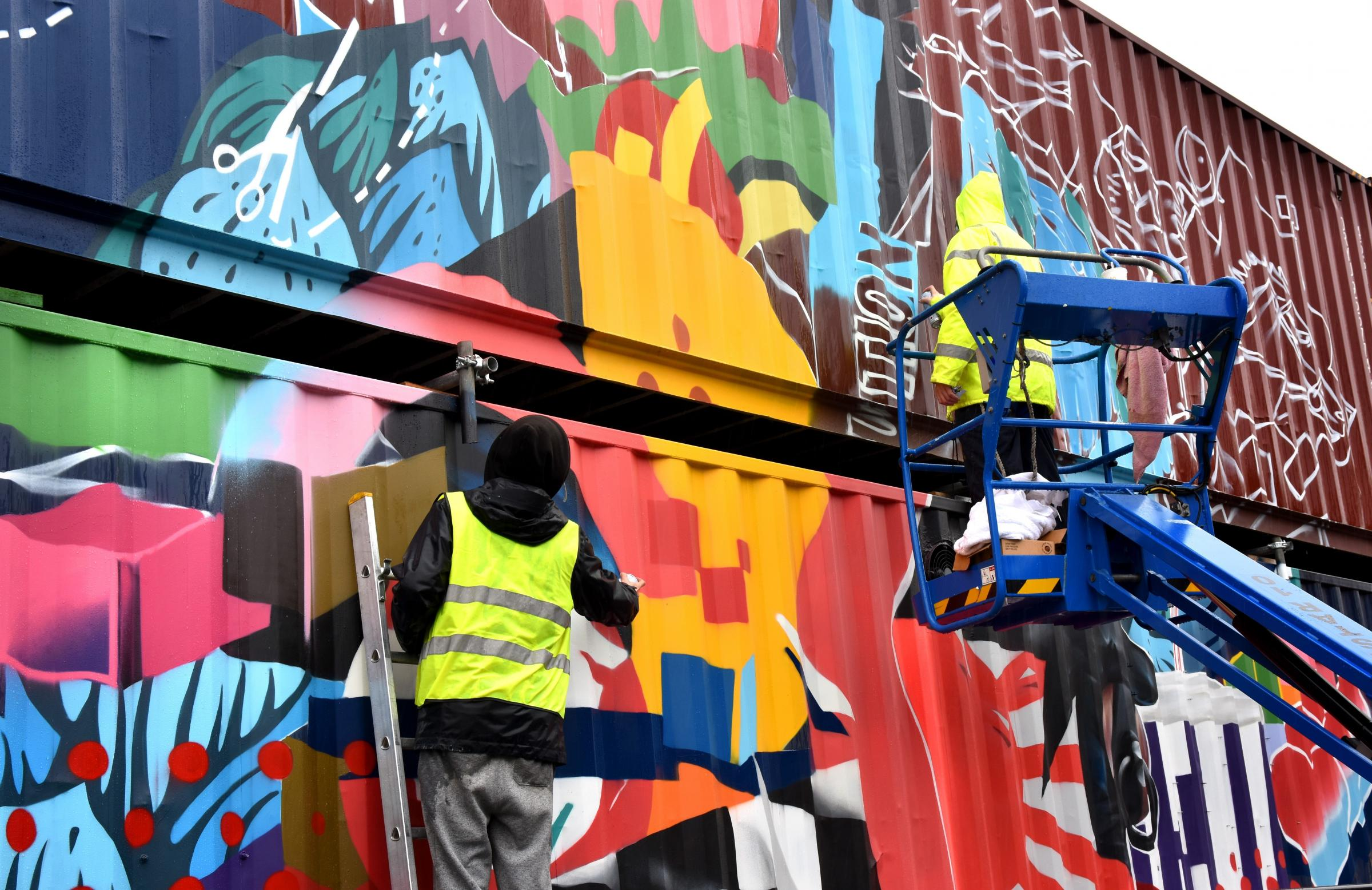 Flashback: 'artwork' is sprayed on the Spark York shipping containers as it neared completion in the spring Picture Frank Dwyer.