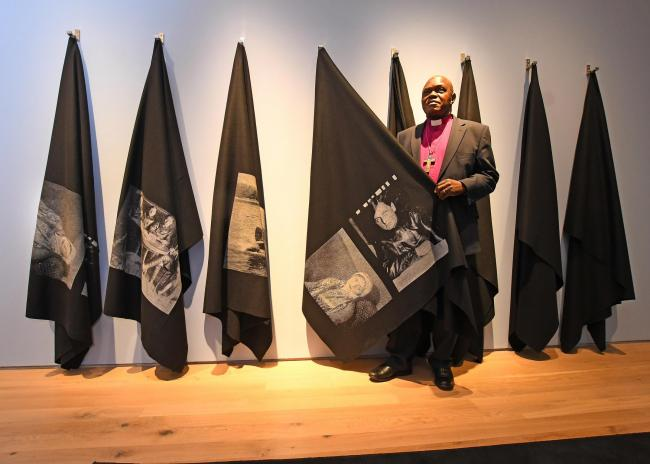 The Archbishop of York Dr John Sentamu with the 'Blankets Project' by artist Varvara Shavrova. Picture David Harrison.