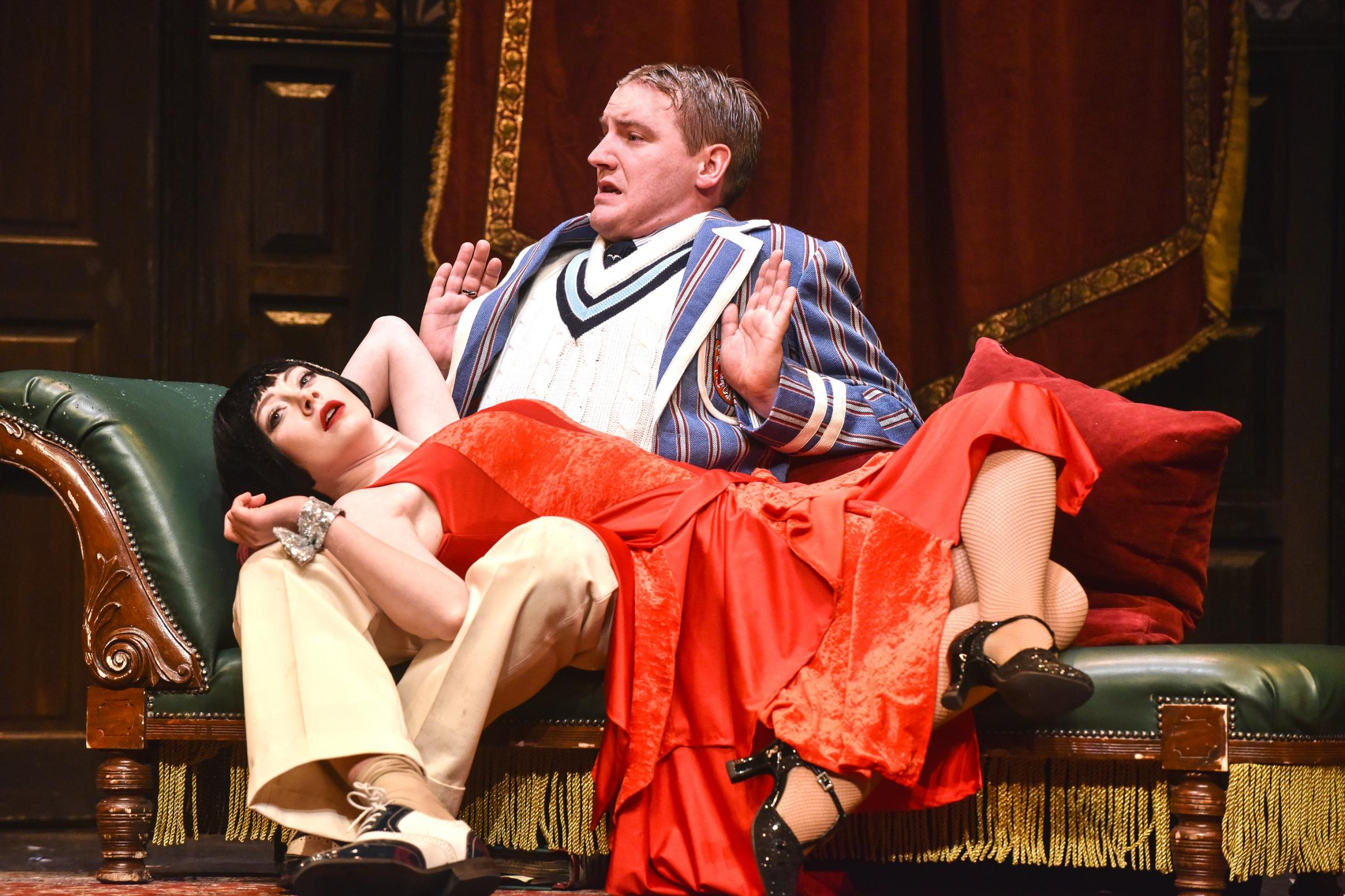 Bobby Hirston's Max and Elena Valentine's Sandra in The Play That Goes Wrong