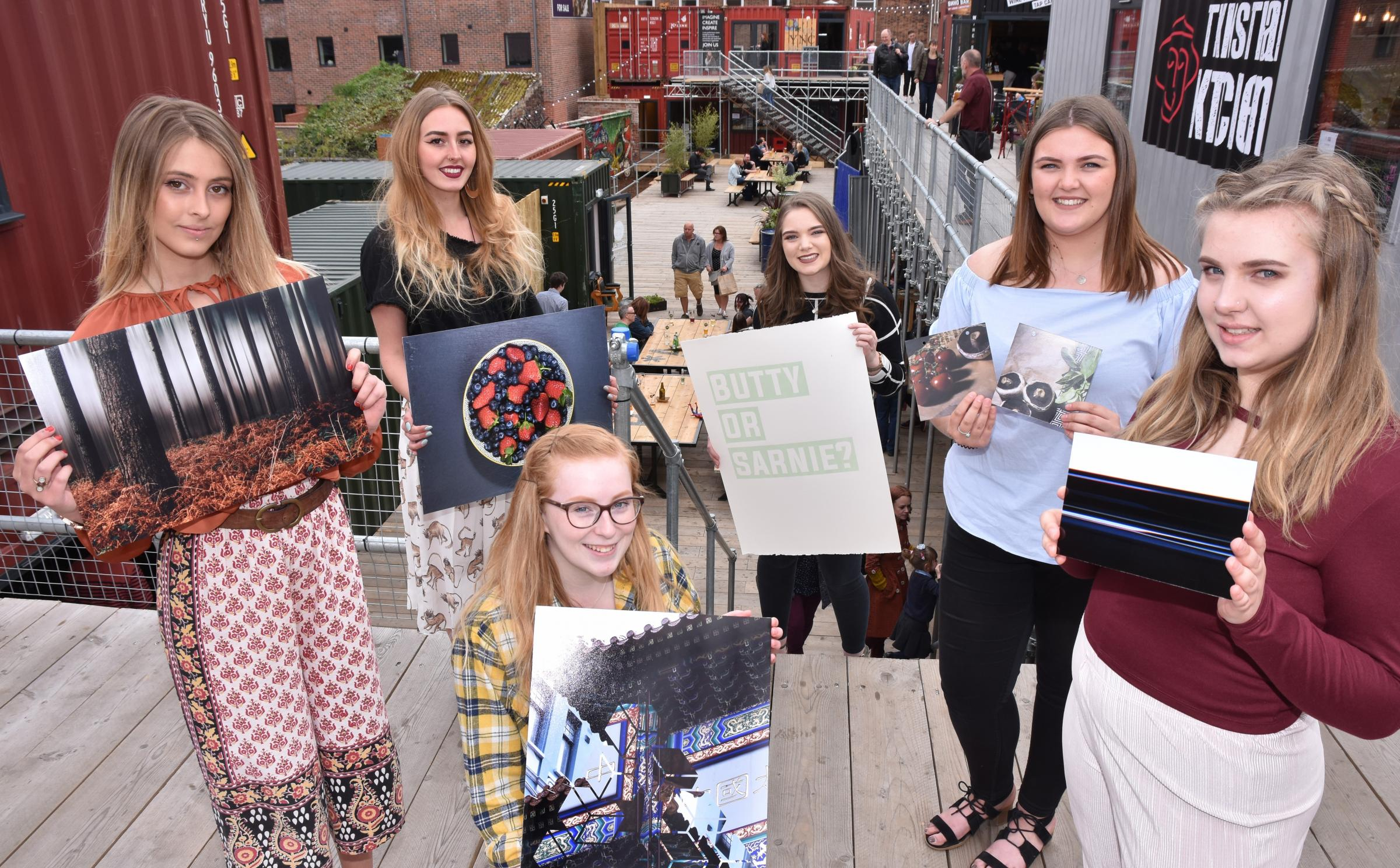 EXHIBITION: Selby College Art & Design HND students at Spark York. (L-R), Josey Grace, Alice Stobbs, Grace Priddy, Eloise Livsey, Abby Clark and Sarah Freer. Picture: Frank Dwyer