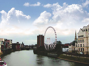 An artist's impression of how the big wheel would have looked viewed from Lendal Bridge had it been allowed to move to North Street