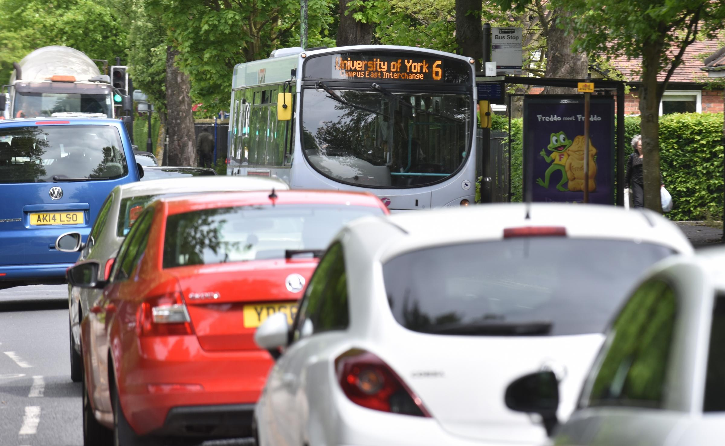 DELAYS: Buses caught in congestion on Wigginton Road Photo: Frank Dwyer