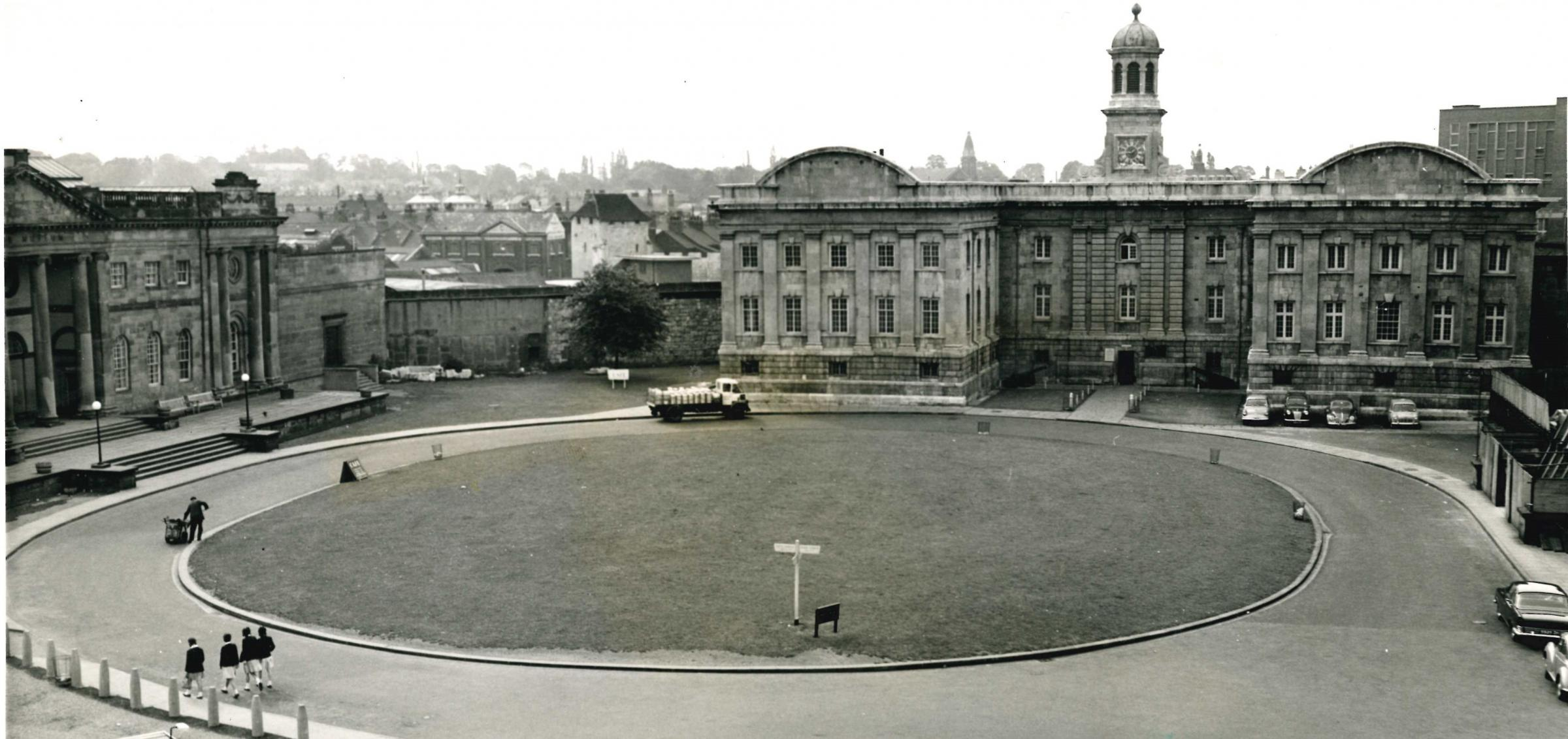 The Eye of York in 1964, minus the new conclourse that now forms the connecting link between the two halves of the Castle Museum