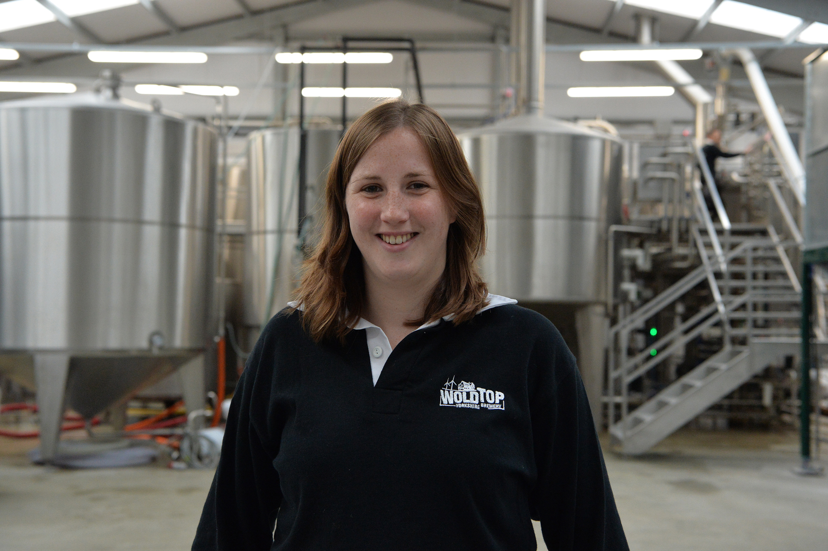 Kate Balchin in the brewery