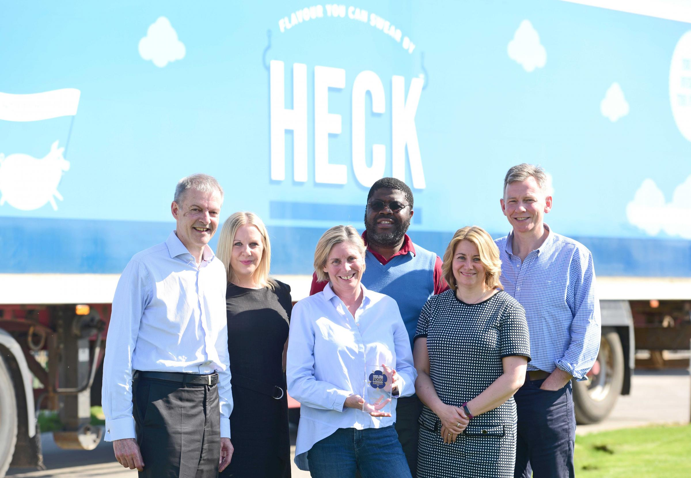 From left, Garbutt + Elliott's Richard Feltham and Karen Simeson; Heck Food founder, Debbie Keeble and financial controller, Sam Mawa; Garbutt + Elliott's Sarah Ashton and Panoramic Growth Equity's Stephen Campbell