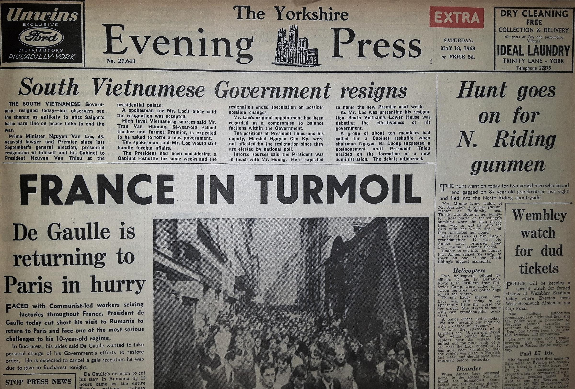 The Yorkshire Evening Press front page from May 18, 1968