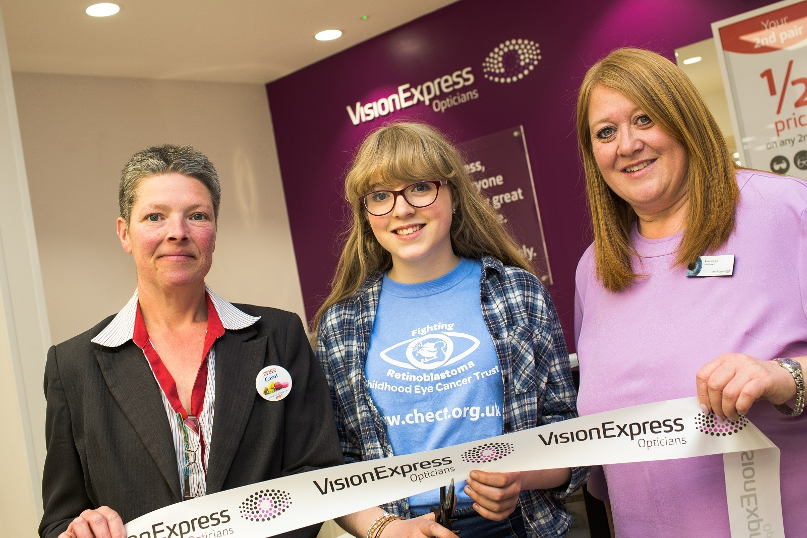Tesco store manager Carol Mullin, CHECT ambassador Tabitha Whitaker and Vision Express at Tesco manager Sharon Hall     Picture: Allan Scott Commercial